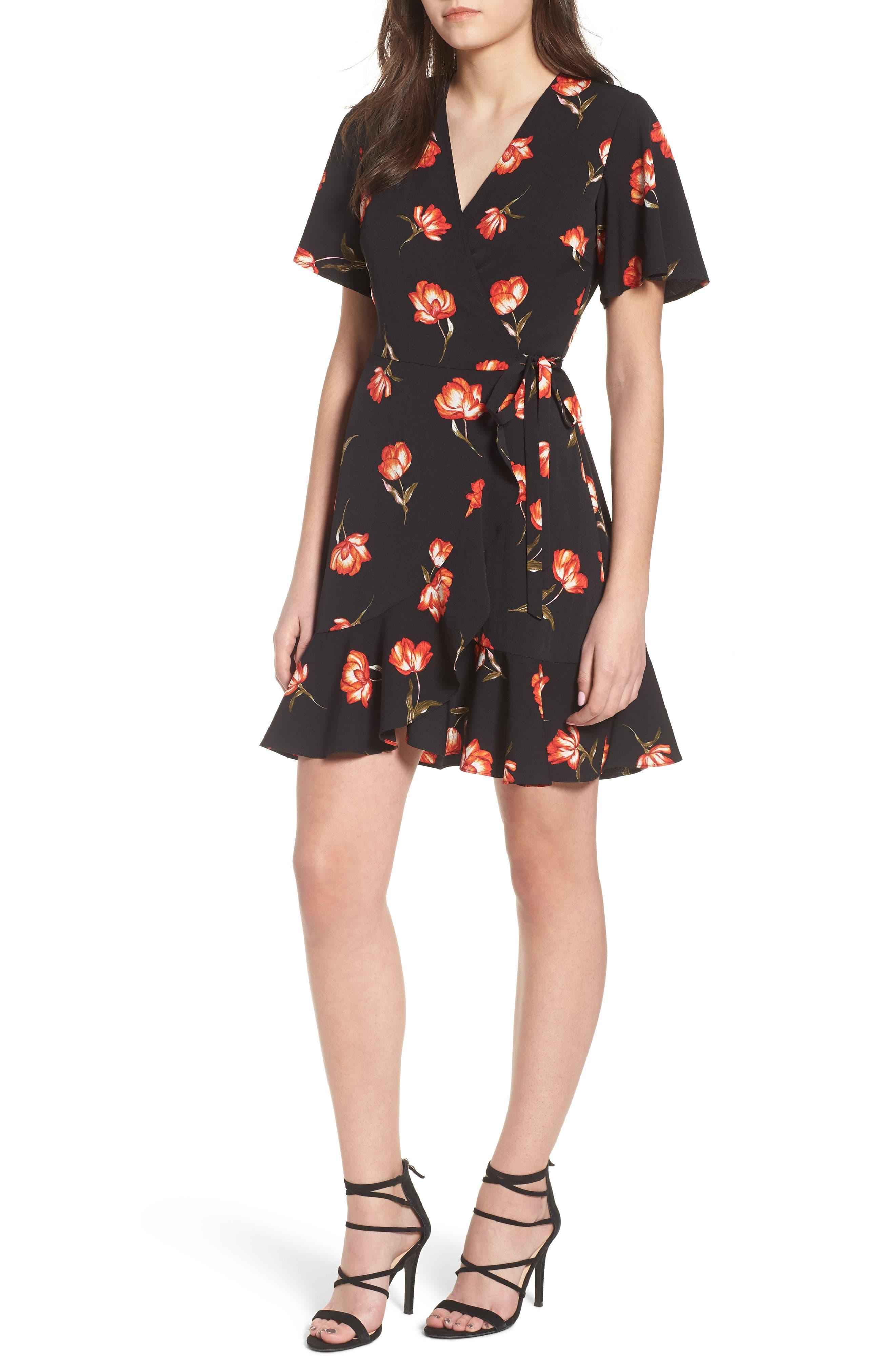 Lucy Floral Wrap Dress,                             Main thumbnail 1, color,                             Black Floral