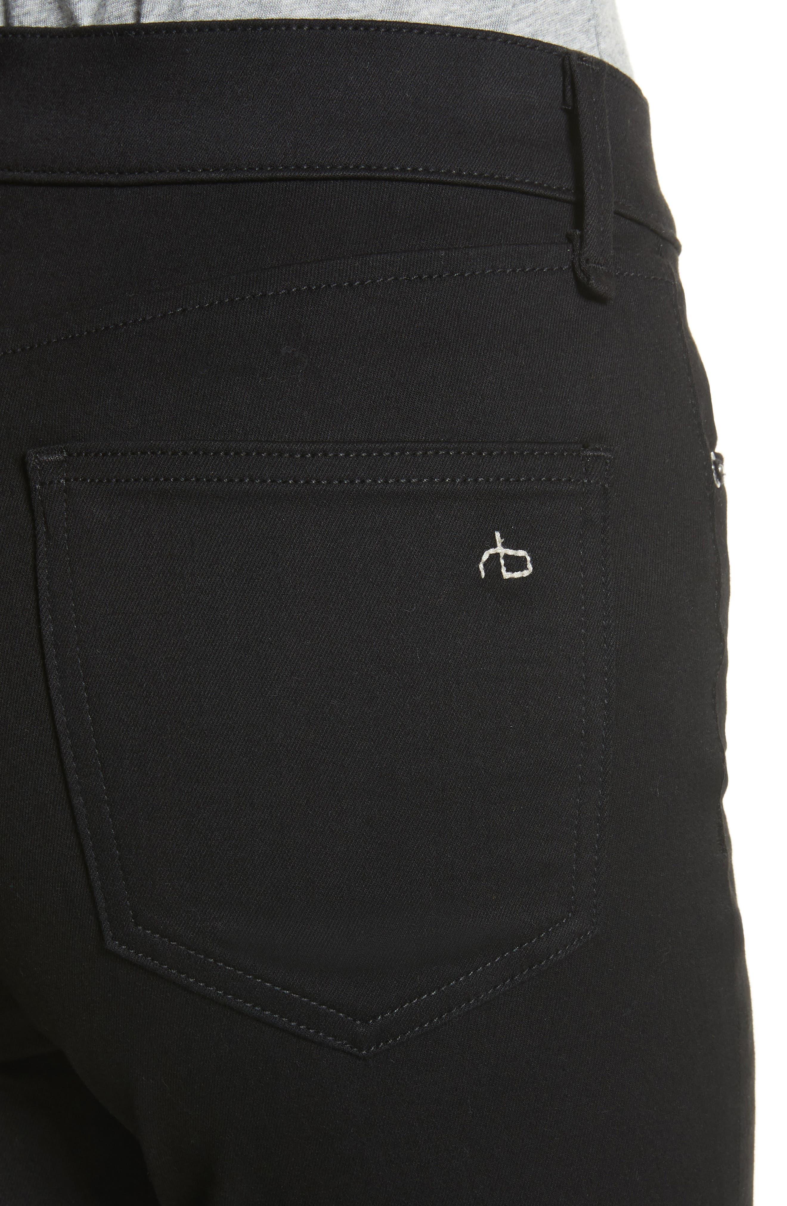 Isabel High Waist Skinny Jeans,                             Alternate thumbnail 4, color,                             Black