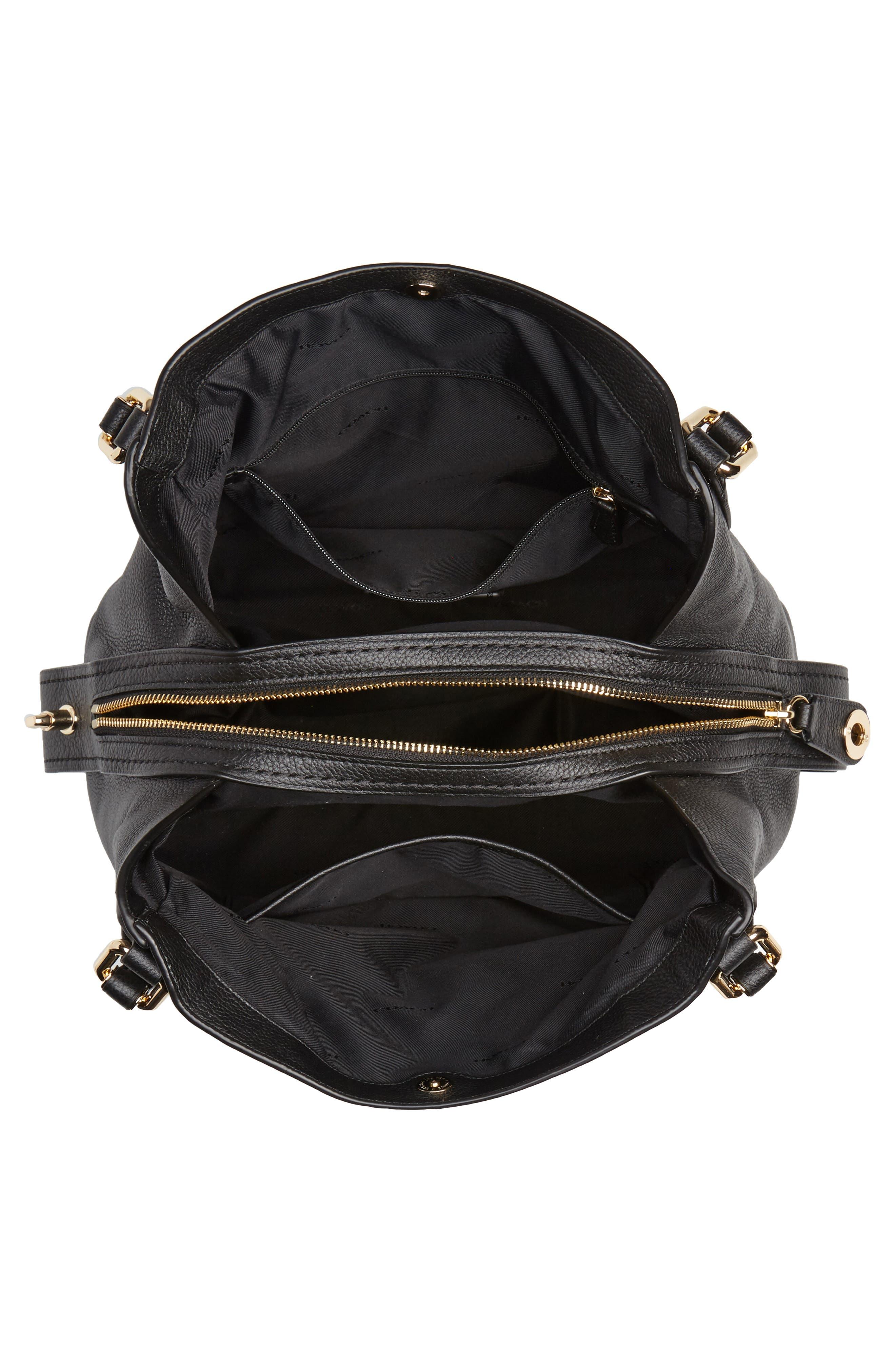 Edie 31 Pebbled Leather Shoulder Bag,                             Alternate thumbnail 4, color,                             Black