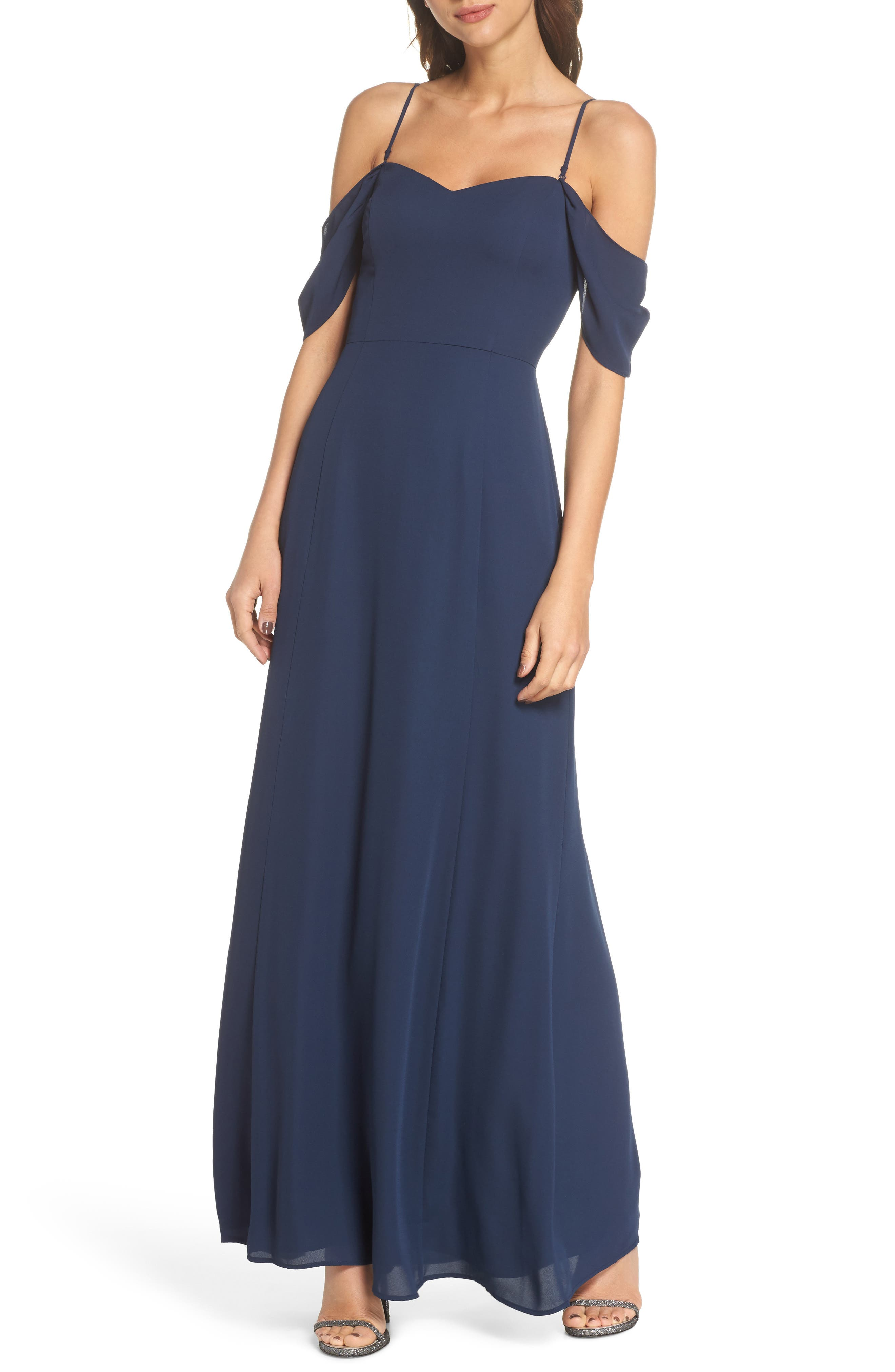 Rachel Off the Shoulder Gored Maxi Dress,                             Alternate thumbnail 4, color,                             Navy