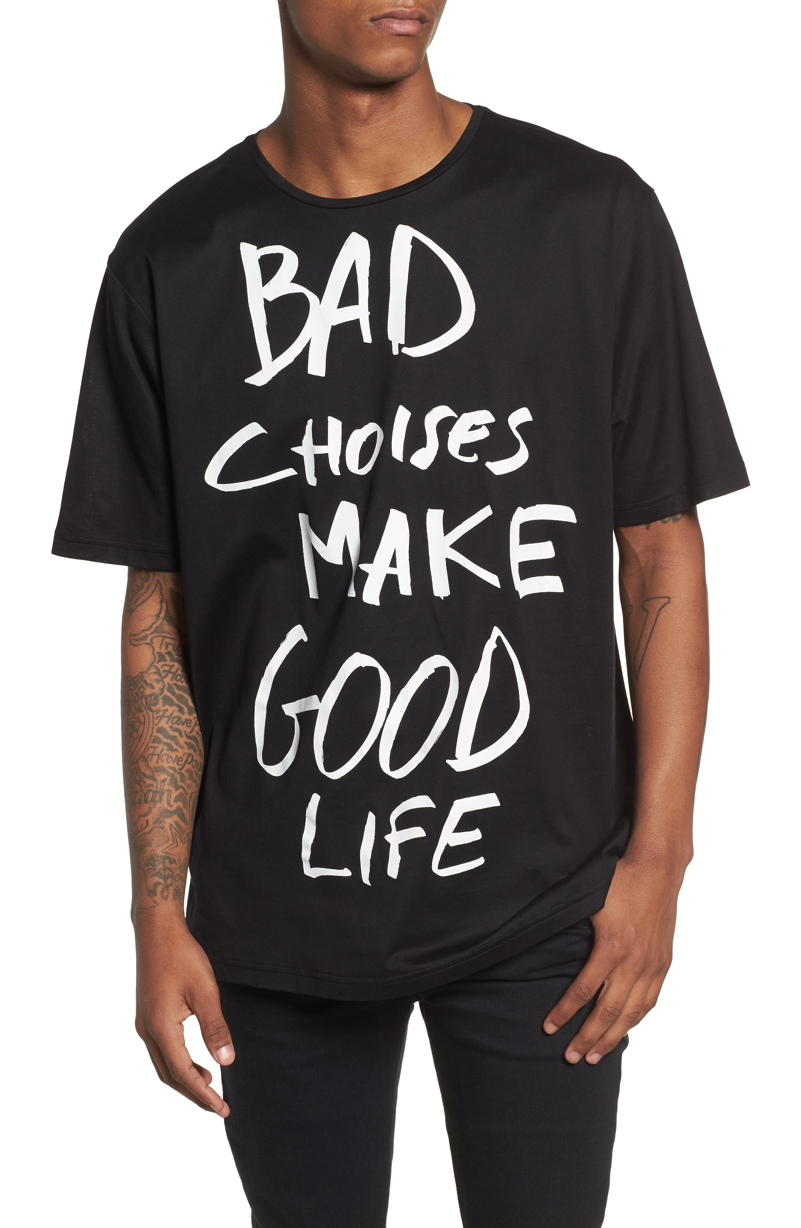 Bad Choices Graphic T-Shirt,                         Main,                         color, Black