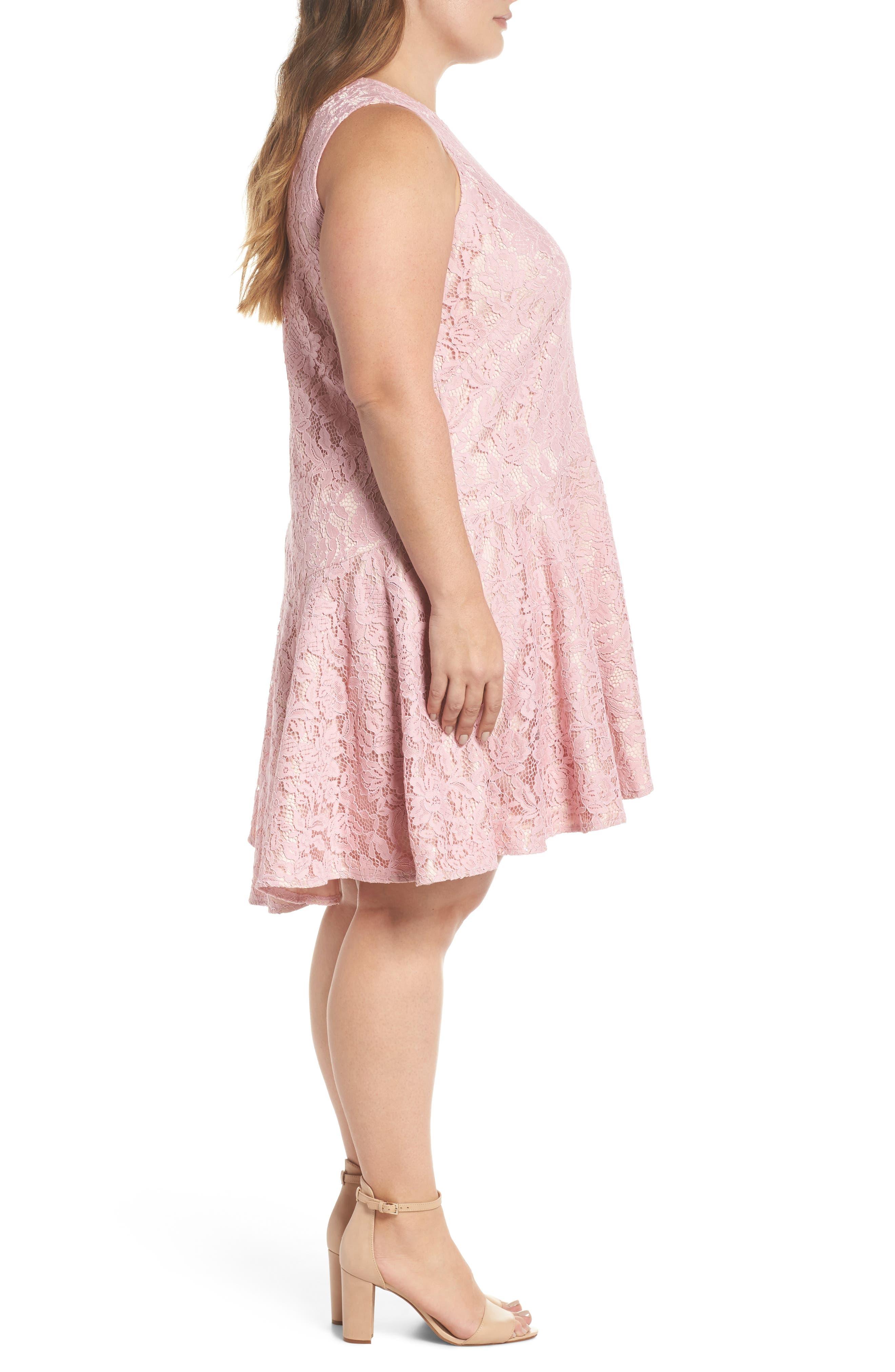 Lace Sleeveless Drop Waist Dress,                             Alternate thumbnail 3, color,                             Blush