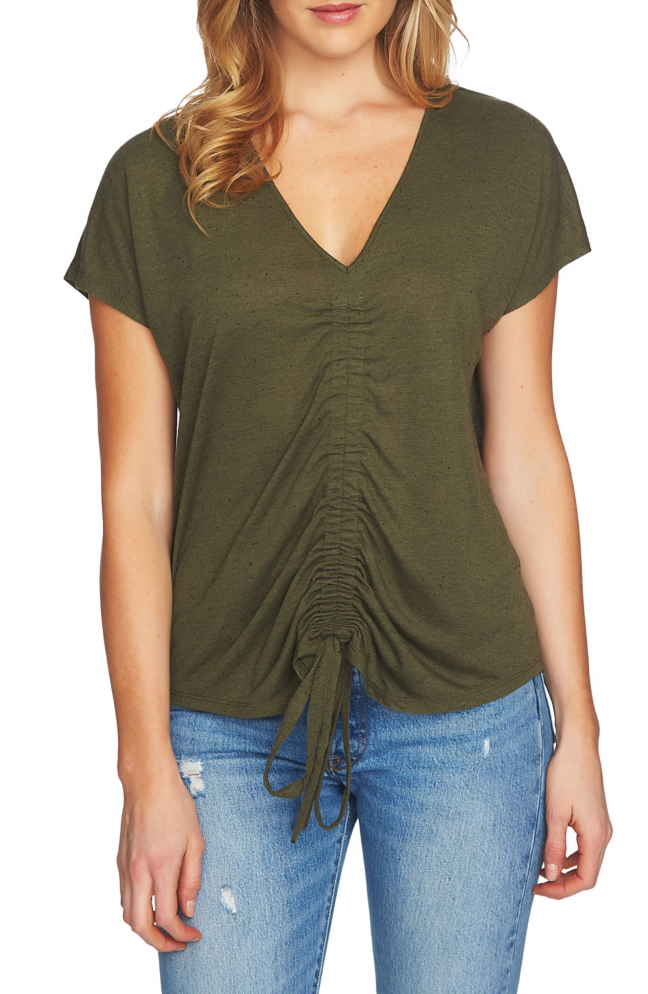 Speckle Cinch Front Knit Top,                         Main,                         color, 311-Olive Tree