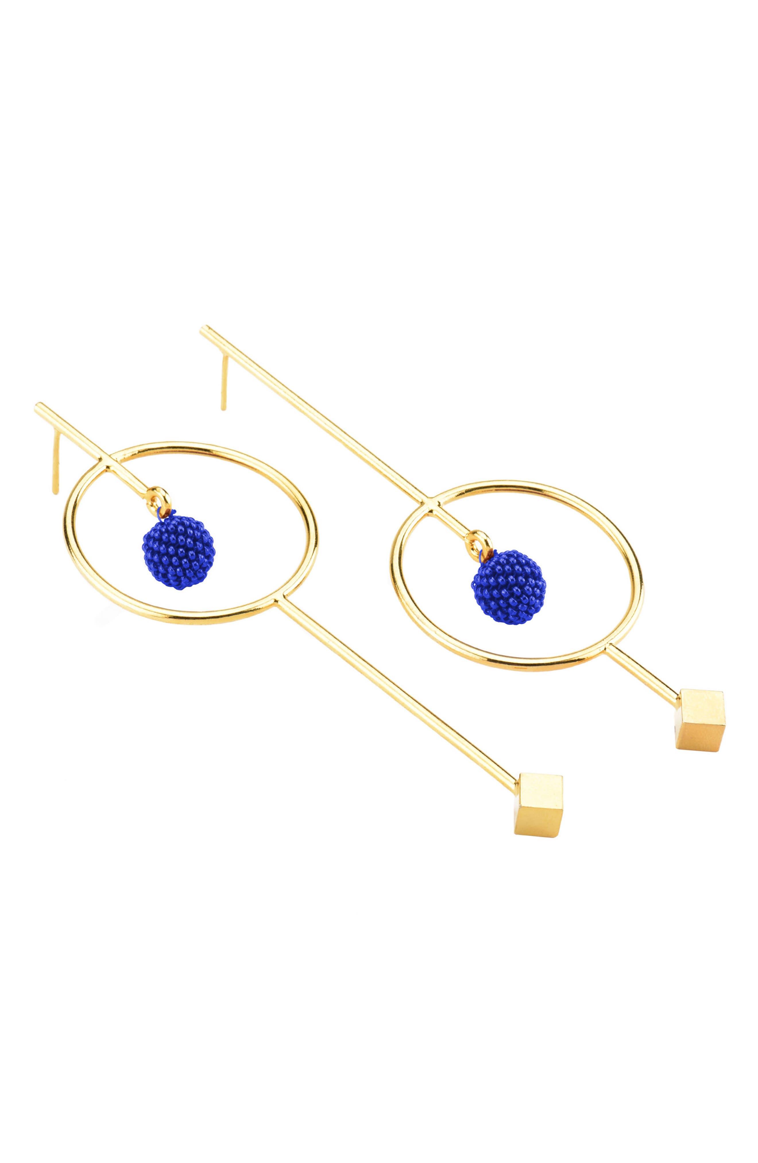 Circle & Bead Statement Earrings,                             Main thumbnail 1, color,                             Blue