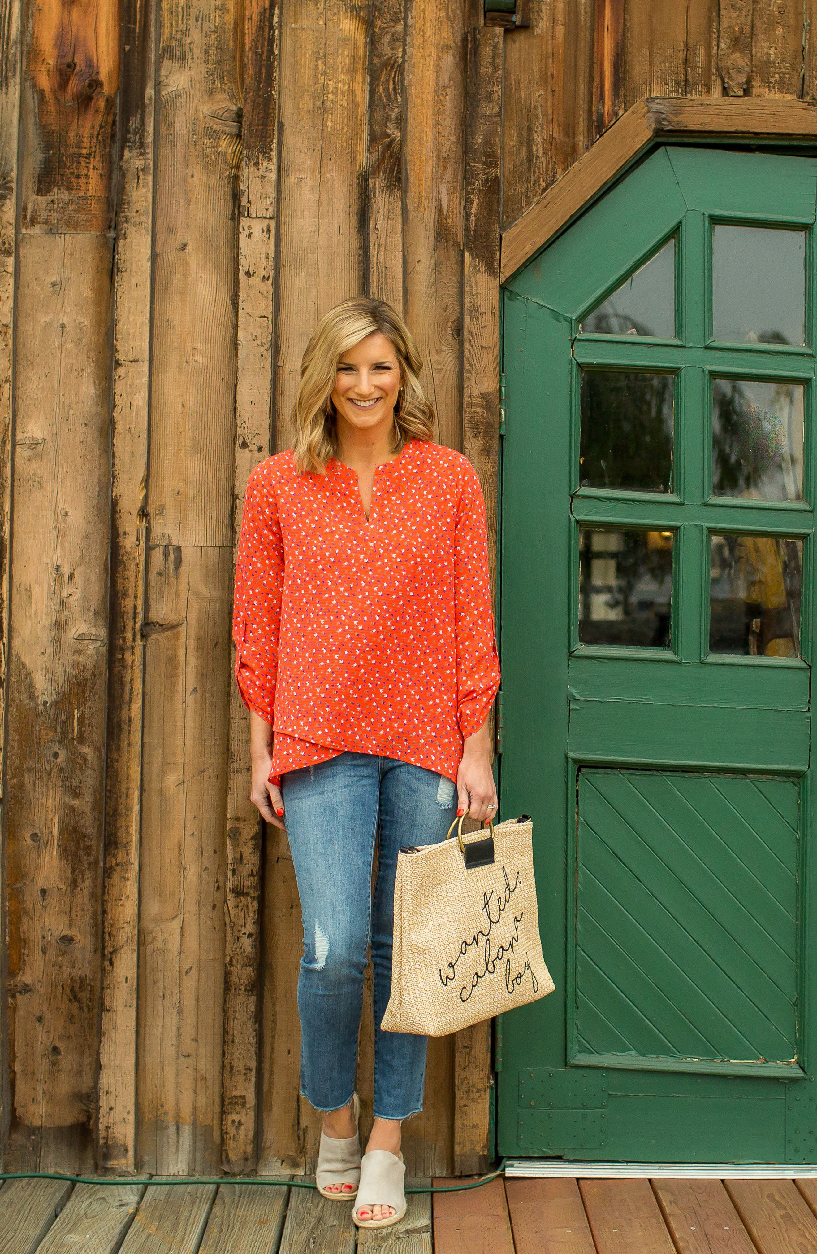 x Living in Yellow Erin Crossover Tunic,                             Alternate thumbnail 2, color,                             Red Floral Print