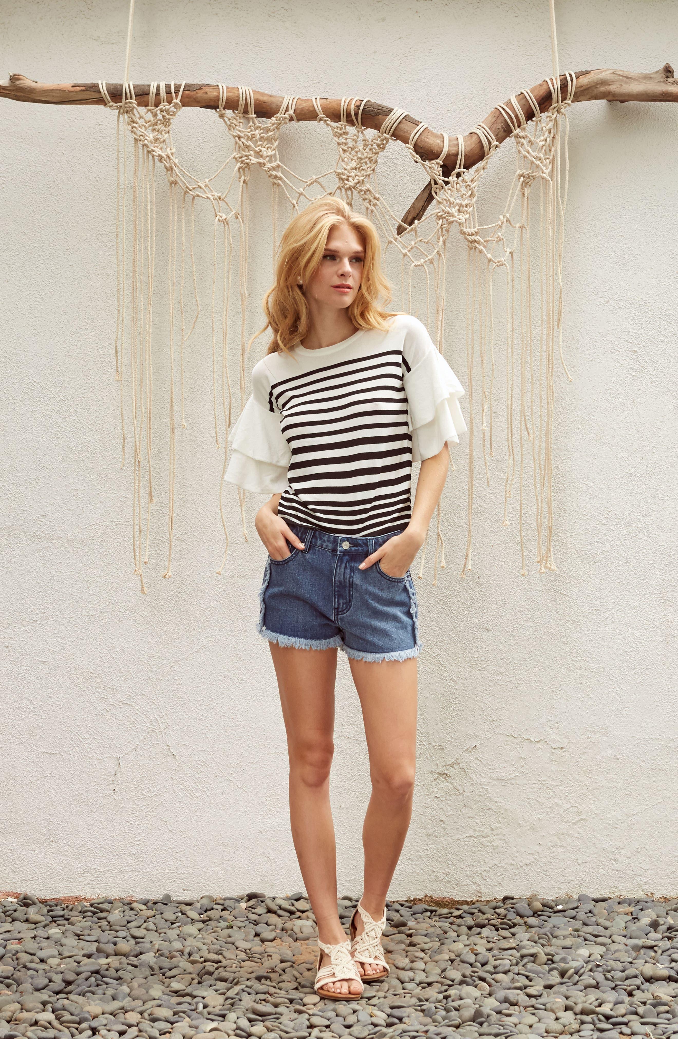 Marin Stripe Ruffle Sleeve Sweater,                             Alternate thumbnail 8, color,                             White/Black