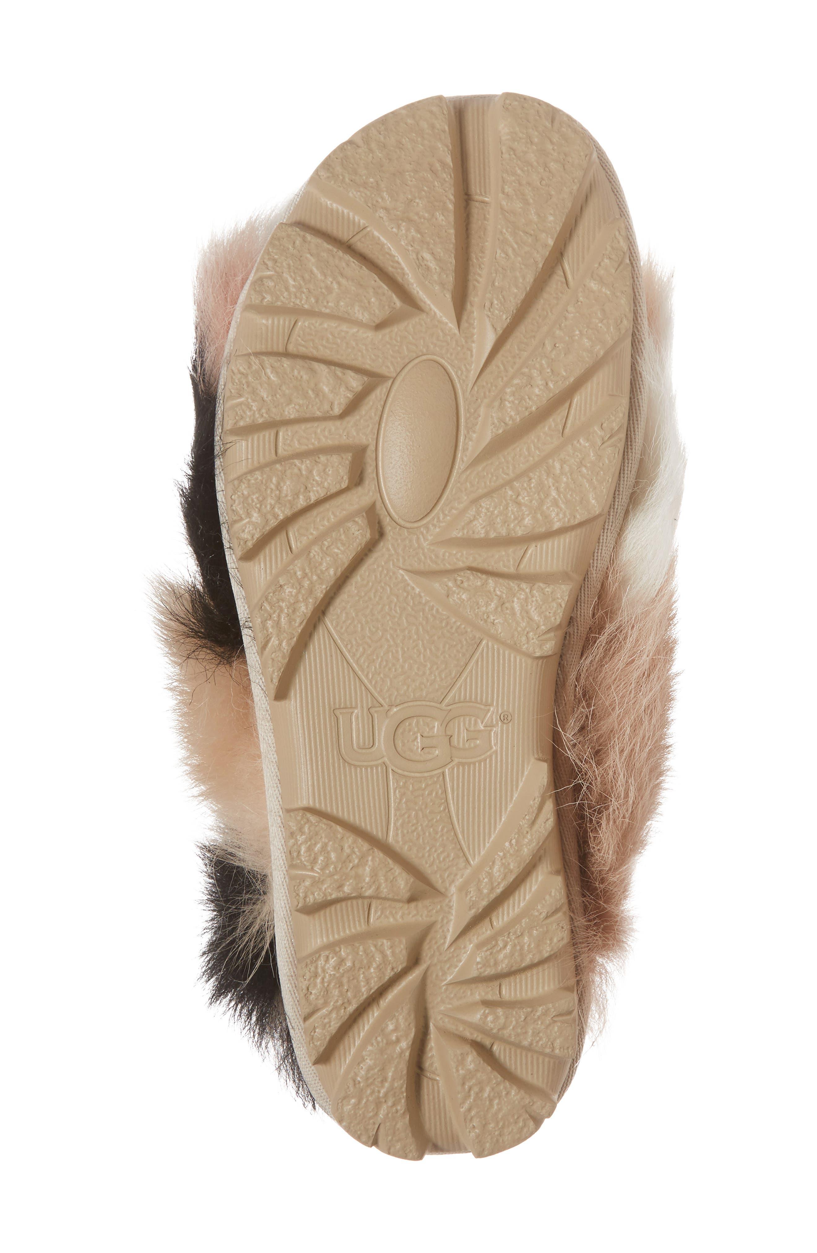 Shag It Crazy Genuine Toscana Shearling Slide Sandal,                             Alternate thumbnail 6, color,                             Natural