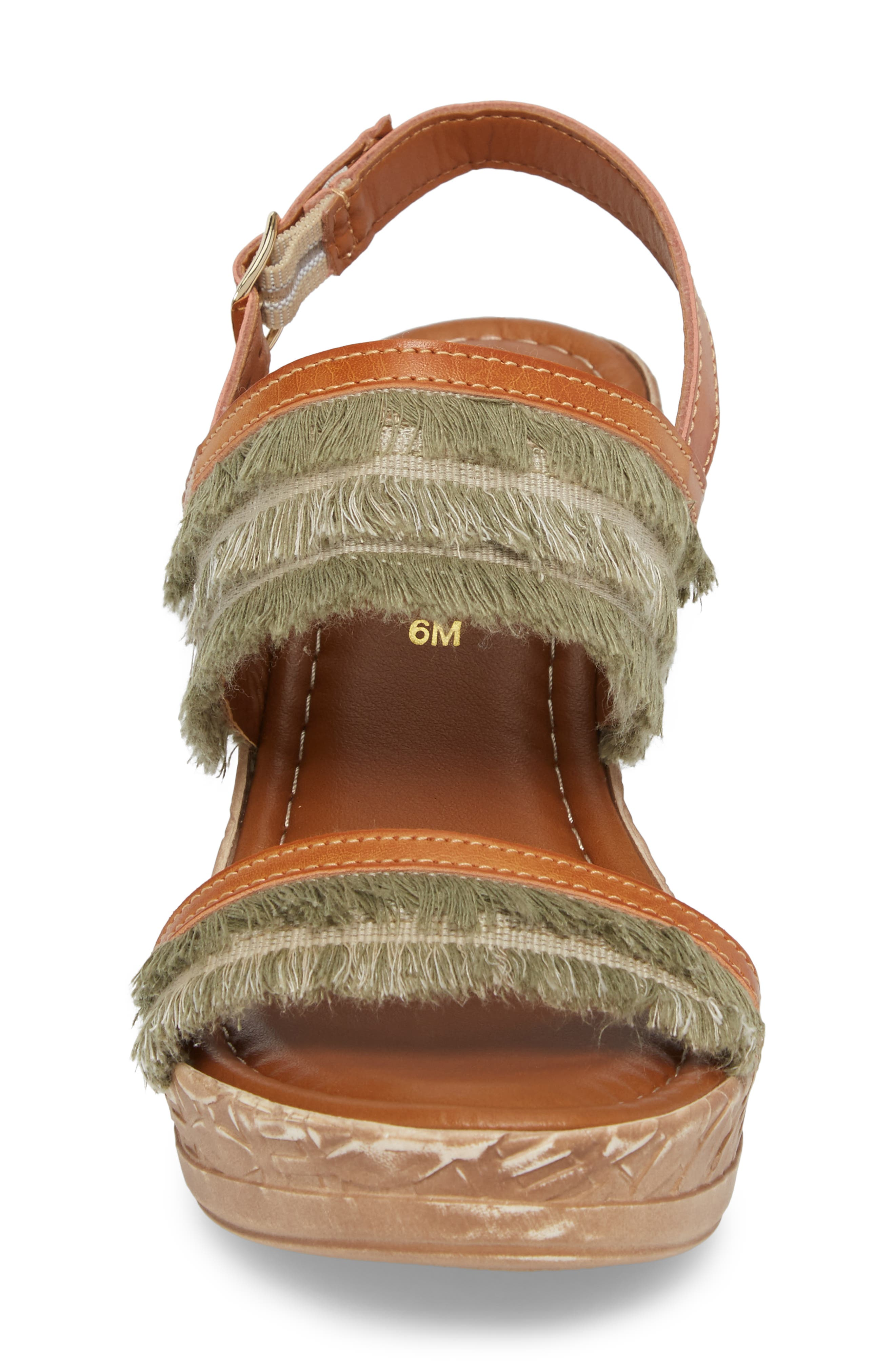 by Easy Street<sup>®</sup> Zaira Wedge Espadrille Sandal,                             Alternate thumbnail 4, color,                             Khaki Faux Leather