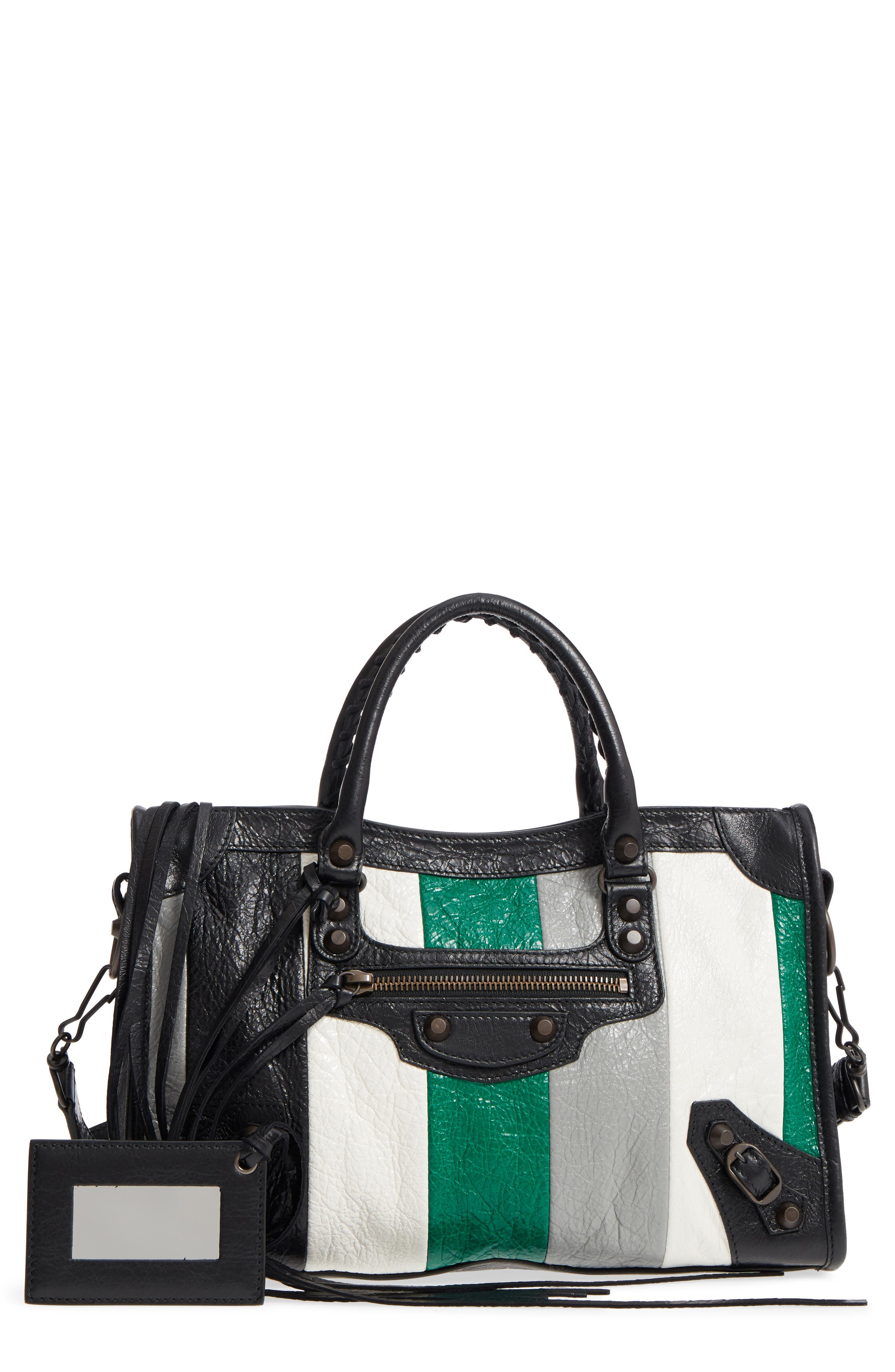 Small Classic City Leather Tote,                         Main,                         color, Vert/ Gris Fossil/ Noir/ Blanc