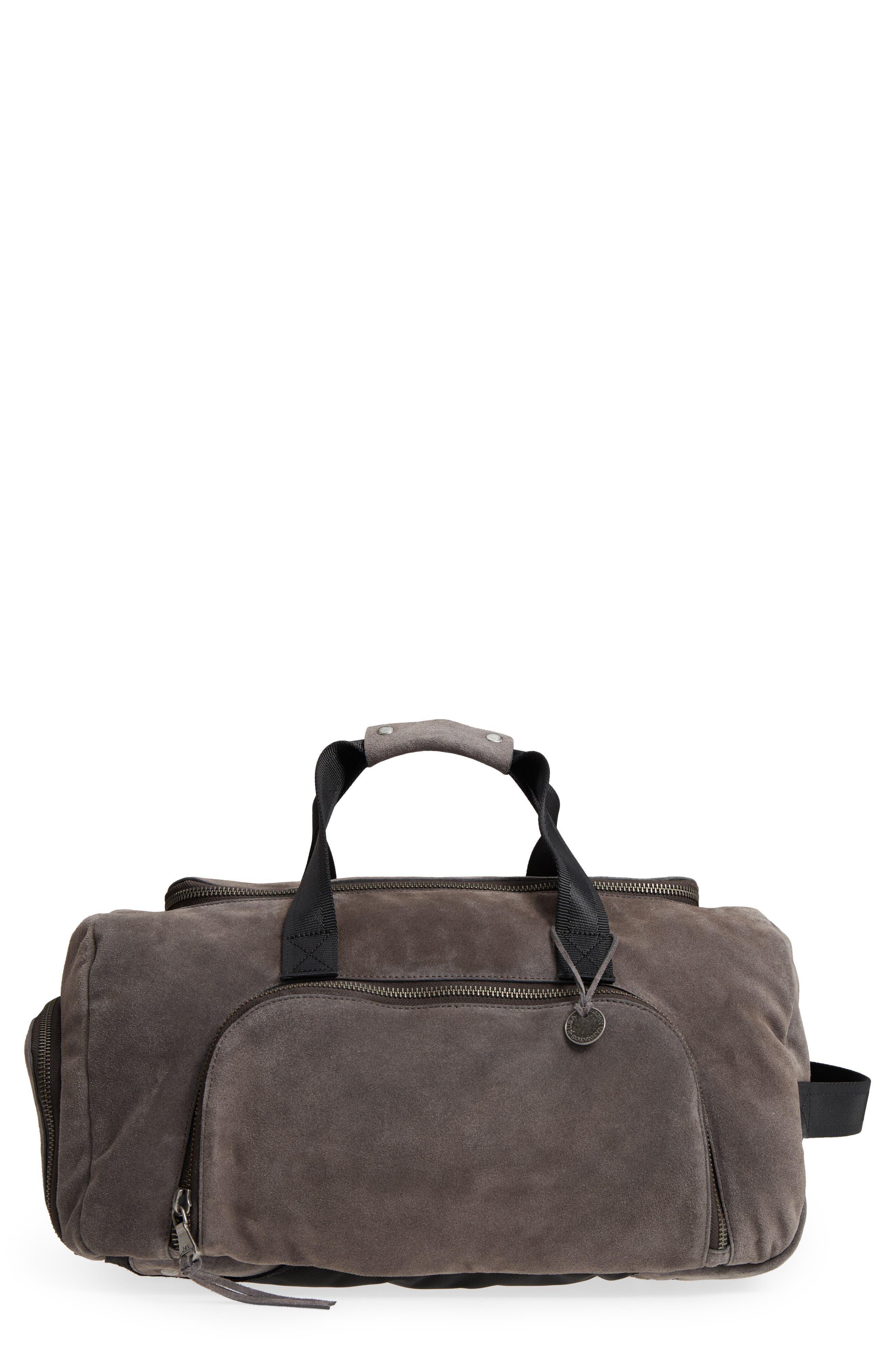 Brooklyn Suede Convertible Duffel Bag,                             Main thumbnail 1, color,                             Lead
