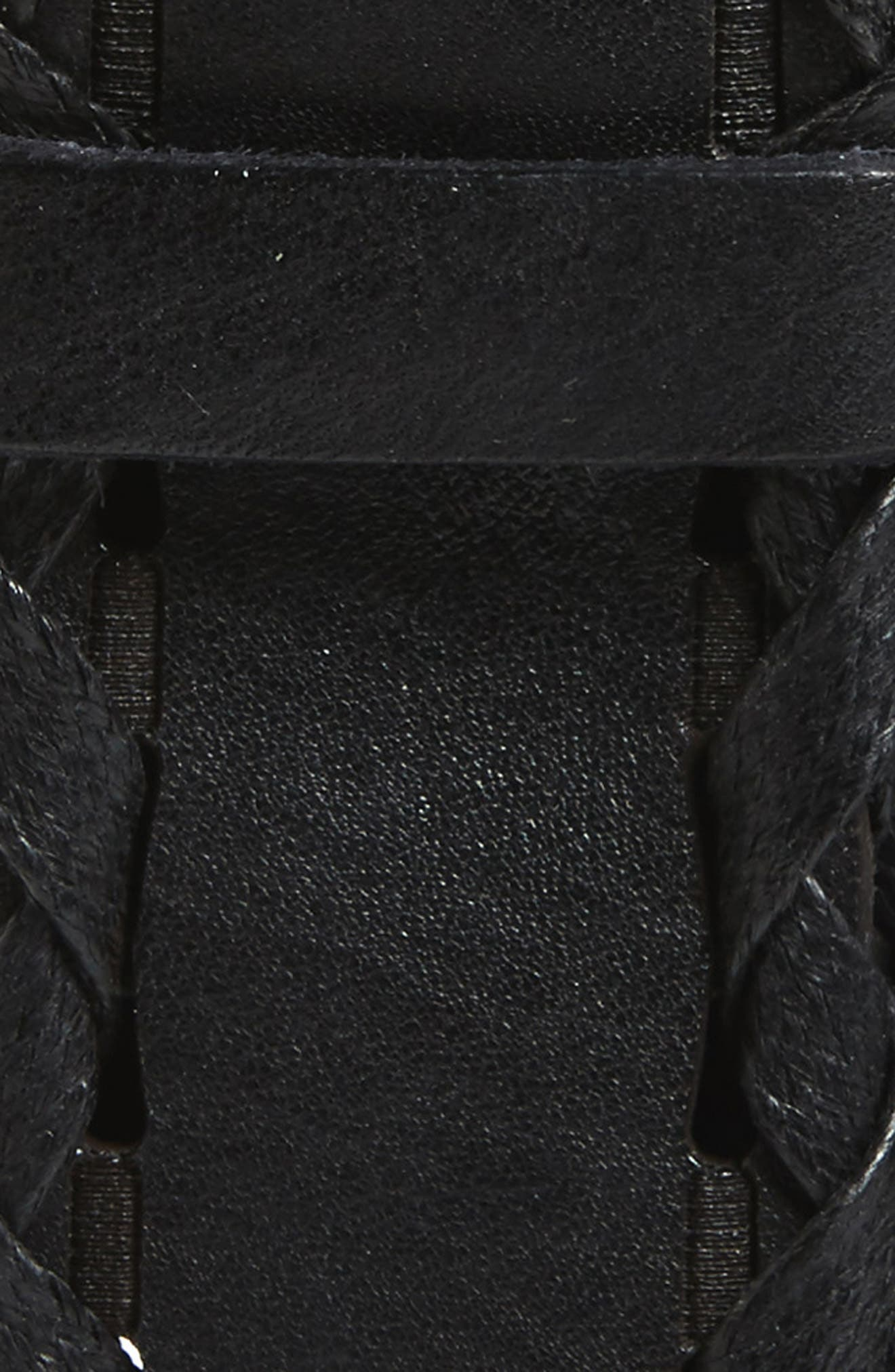 Wax Woven Leather Belt,                             Alternate thumbnail 2, color,                             Nero