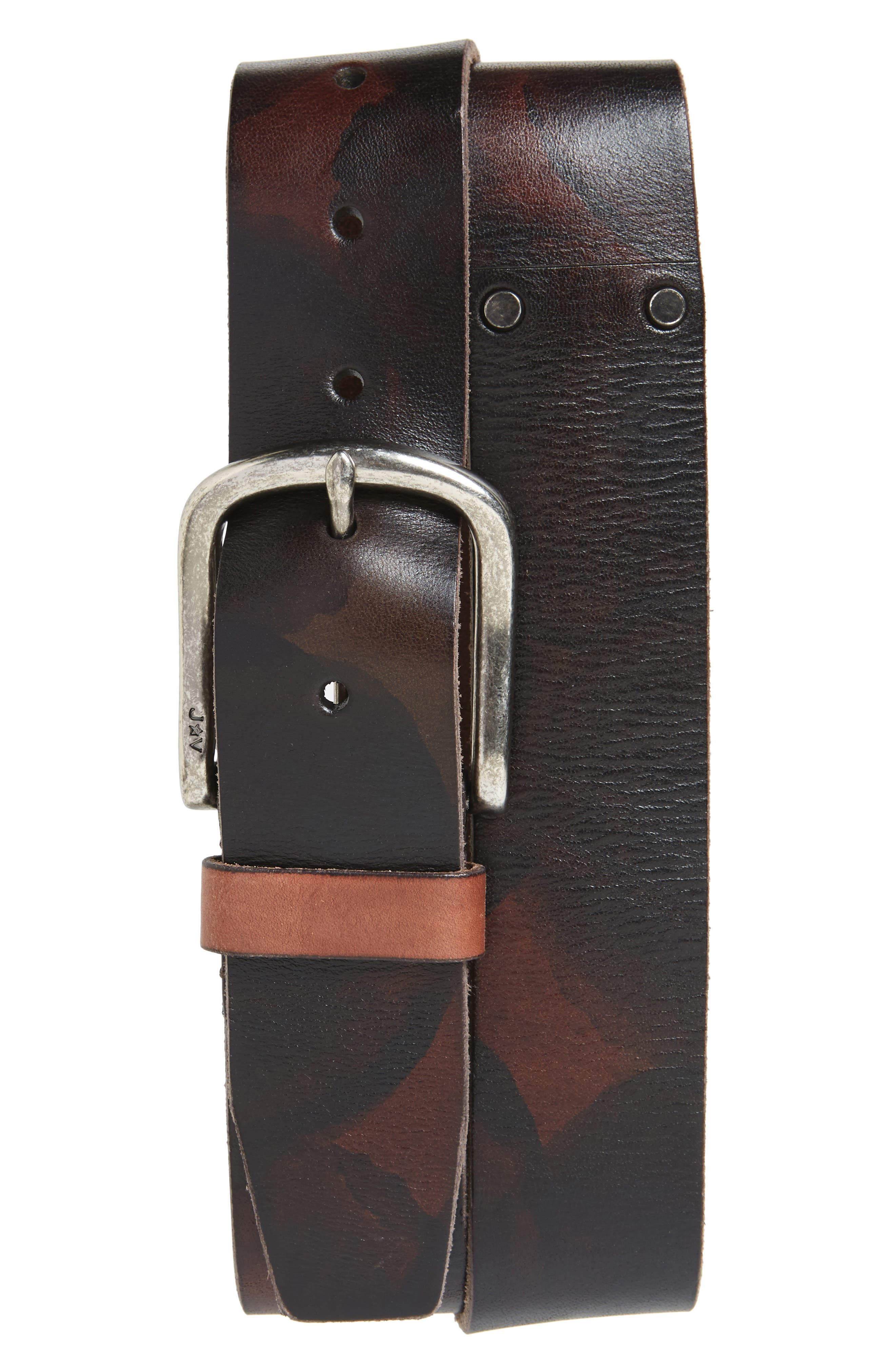 Marble Stained Leather Belt,                         Main,                         color, Distressed Brown