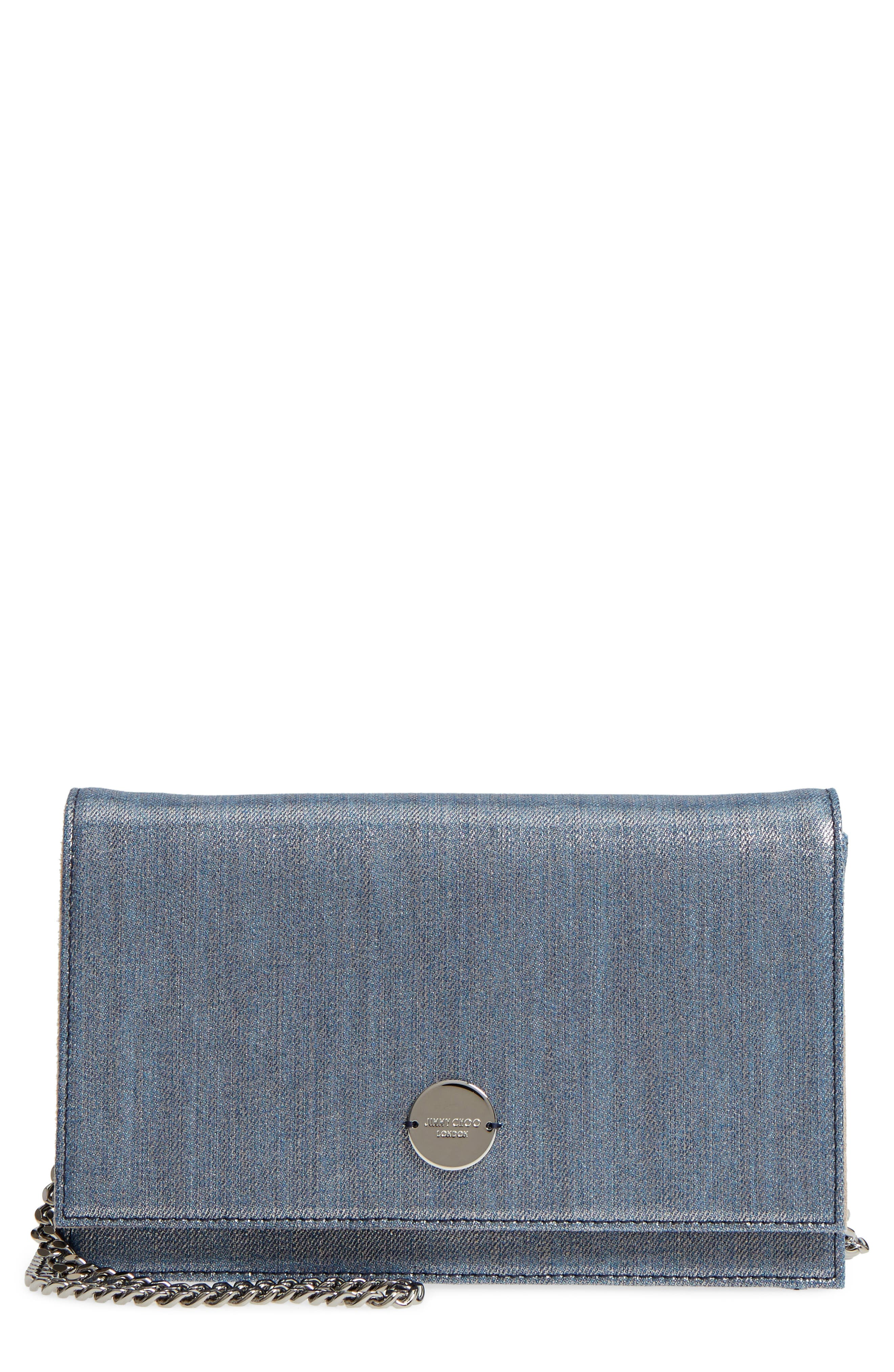 Florence Metallic Denim Glitter Clutch,                             Main thumbnail 1, color,                             Dusk Blue