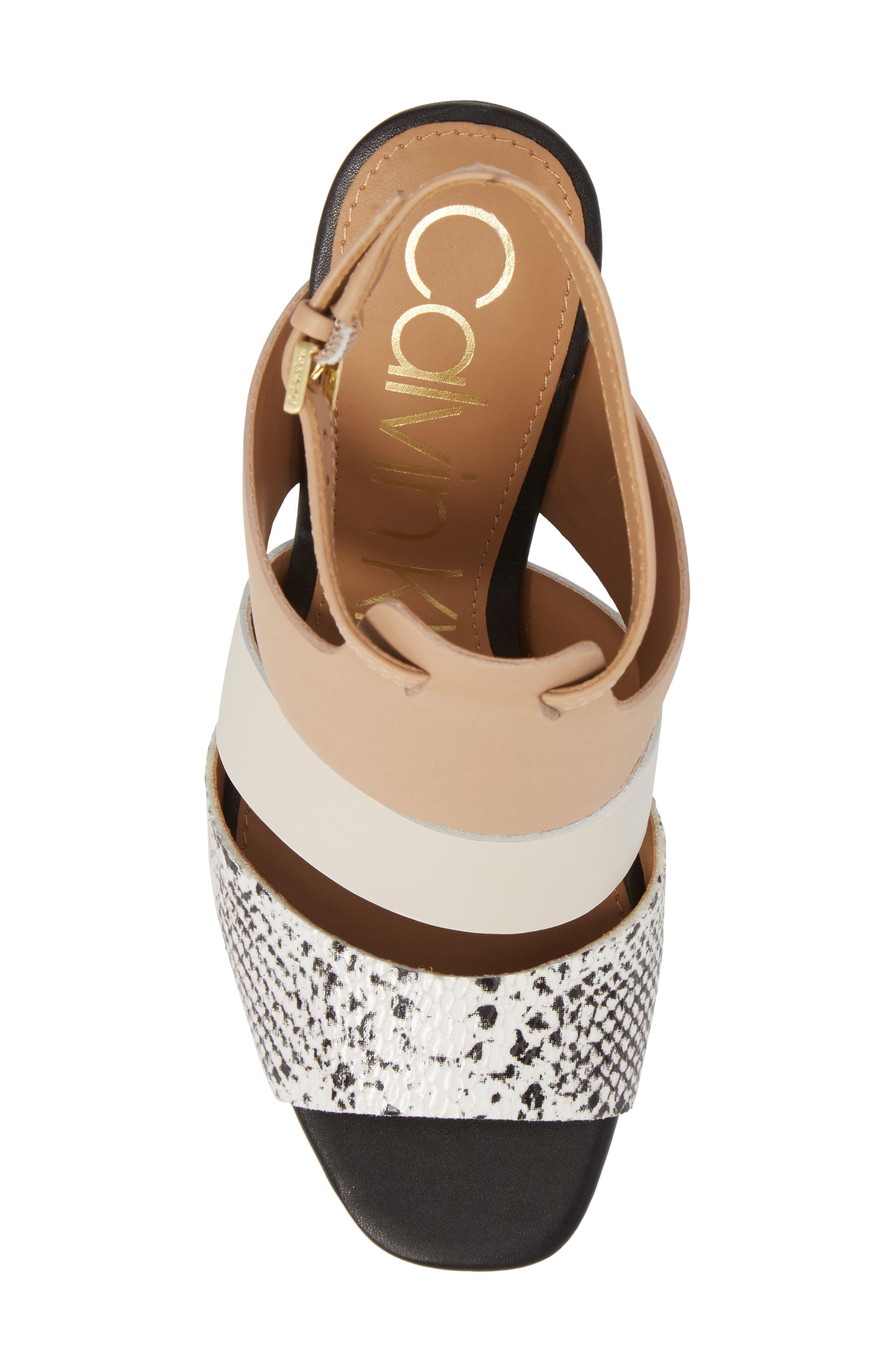Caran Block Heel Sandal,                             Alternate thumbnail 5, color,                             Black/ White Leather