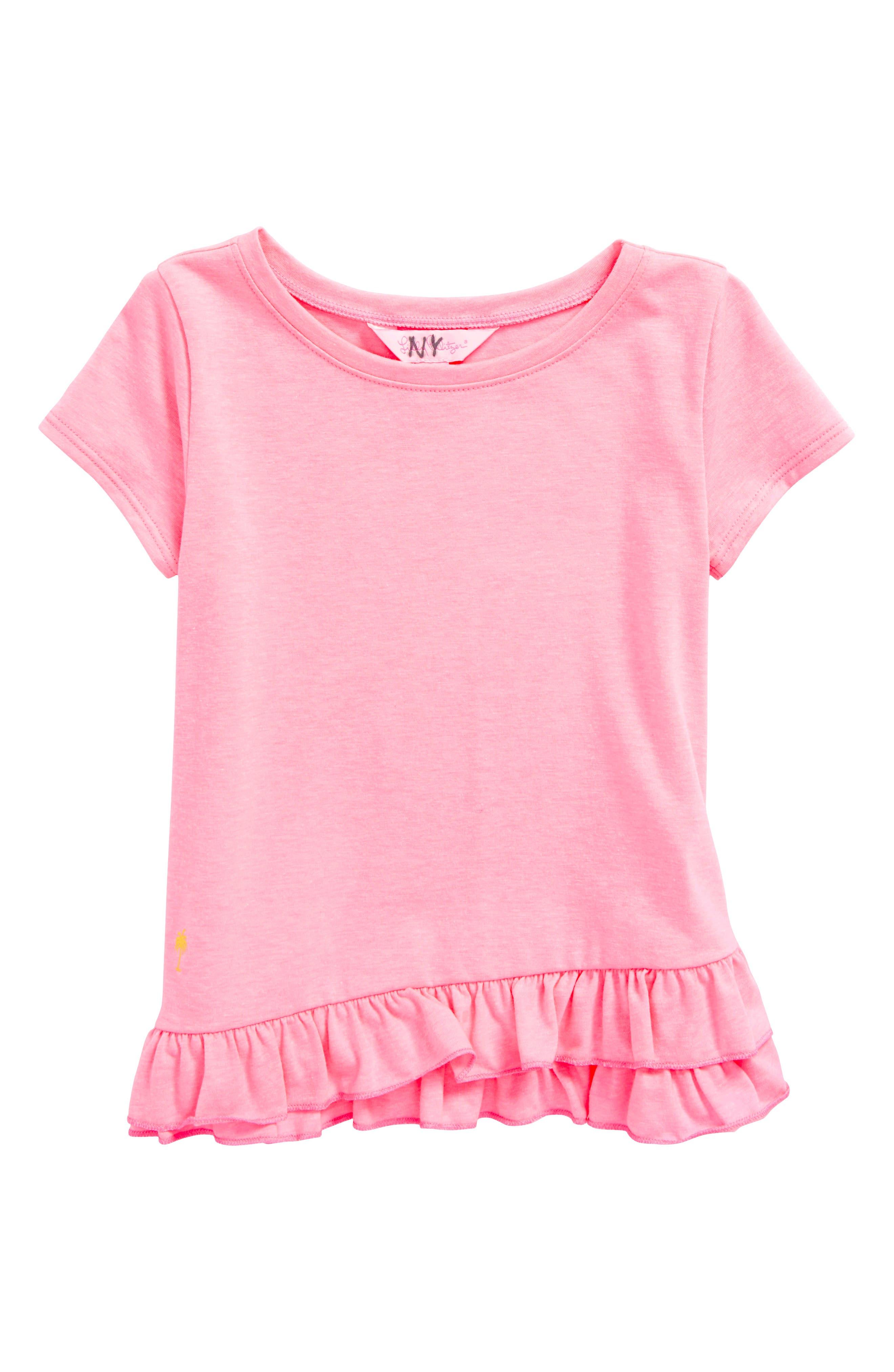 Leightan Ruffle Hem Tee,                         Main,                         color, Pink Sunset