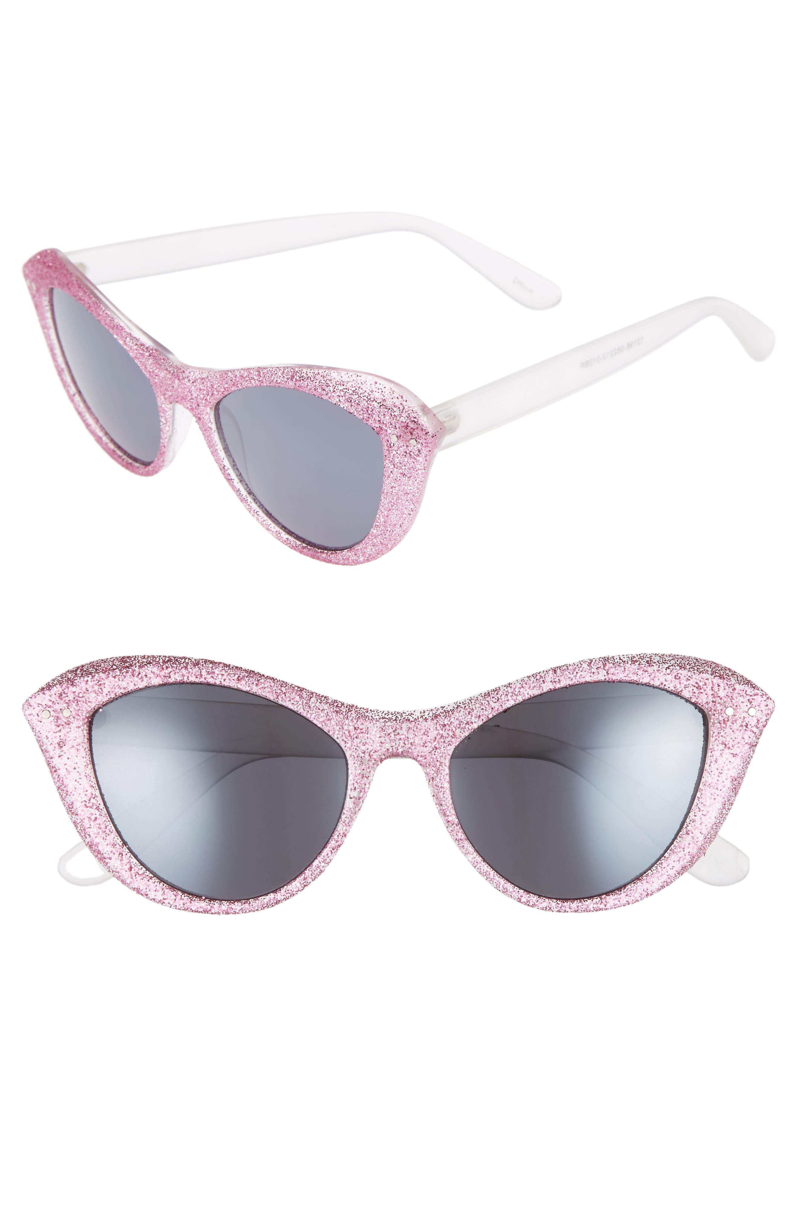 50mm Retro Cat Eye Sunglasses,                         Main,                         color, Milky White/ Pink