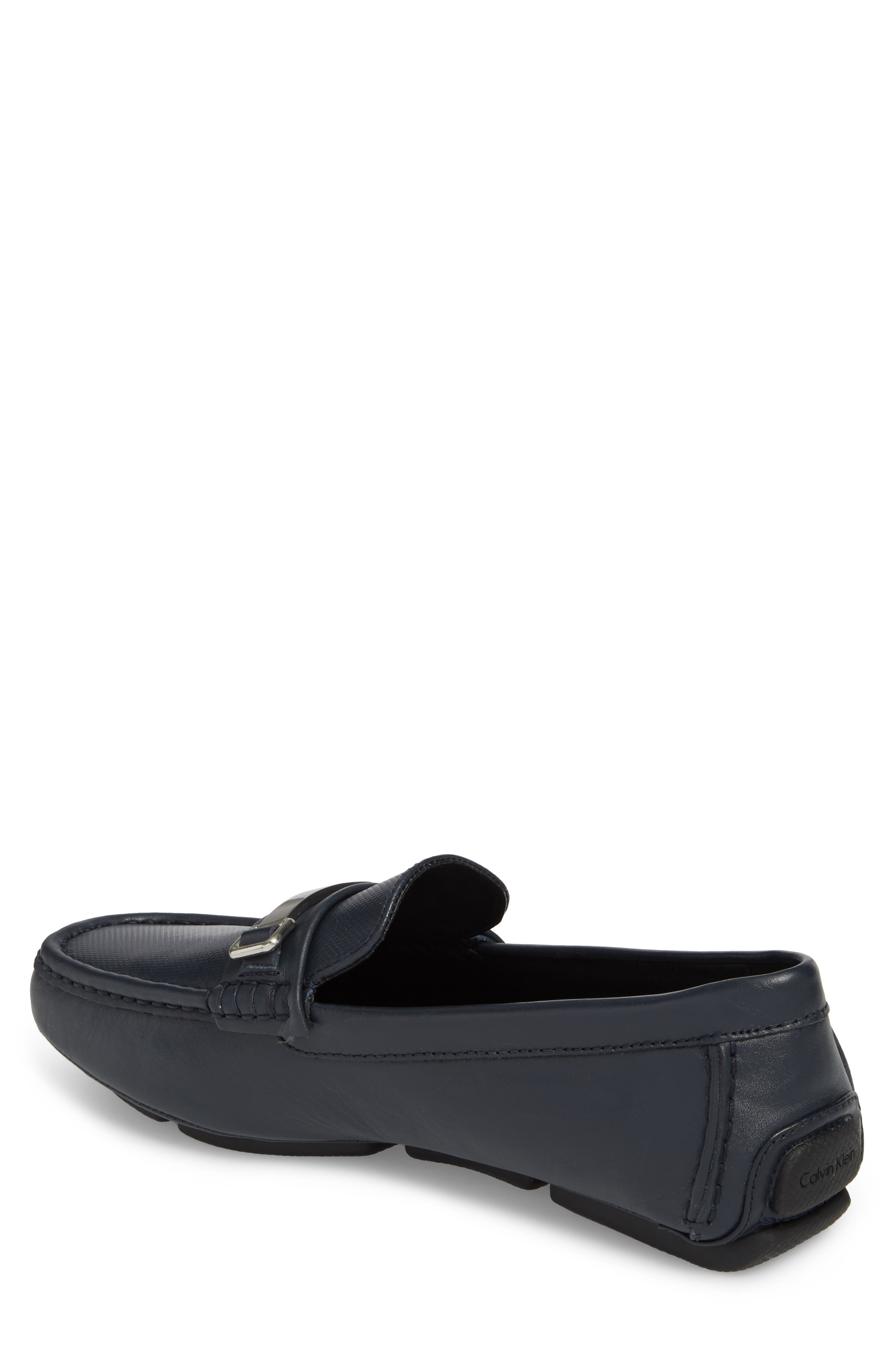 Maddix Textured Driving Moccasin,                             Alternate thumbnail 2, color,                             Dark Navy Leather