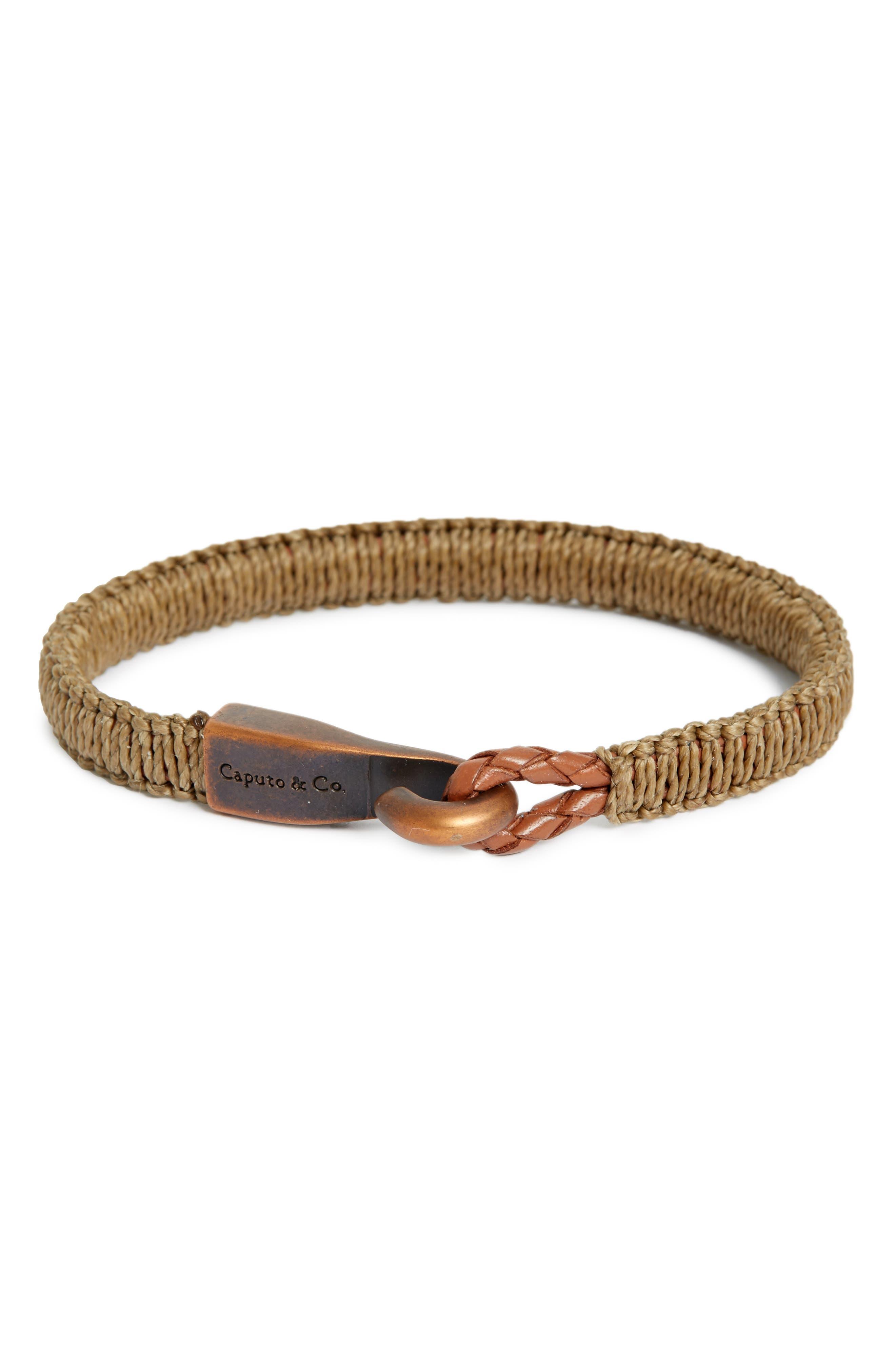 Woven Bracelet,                         Main,                         color, Brown