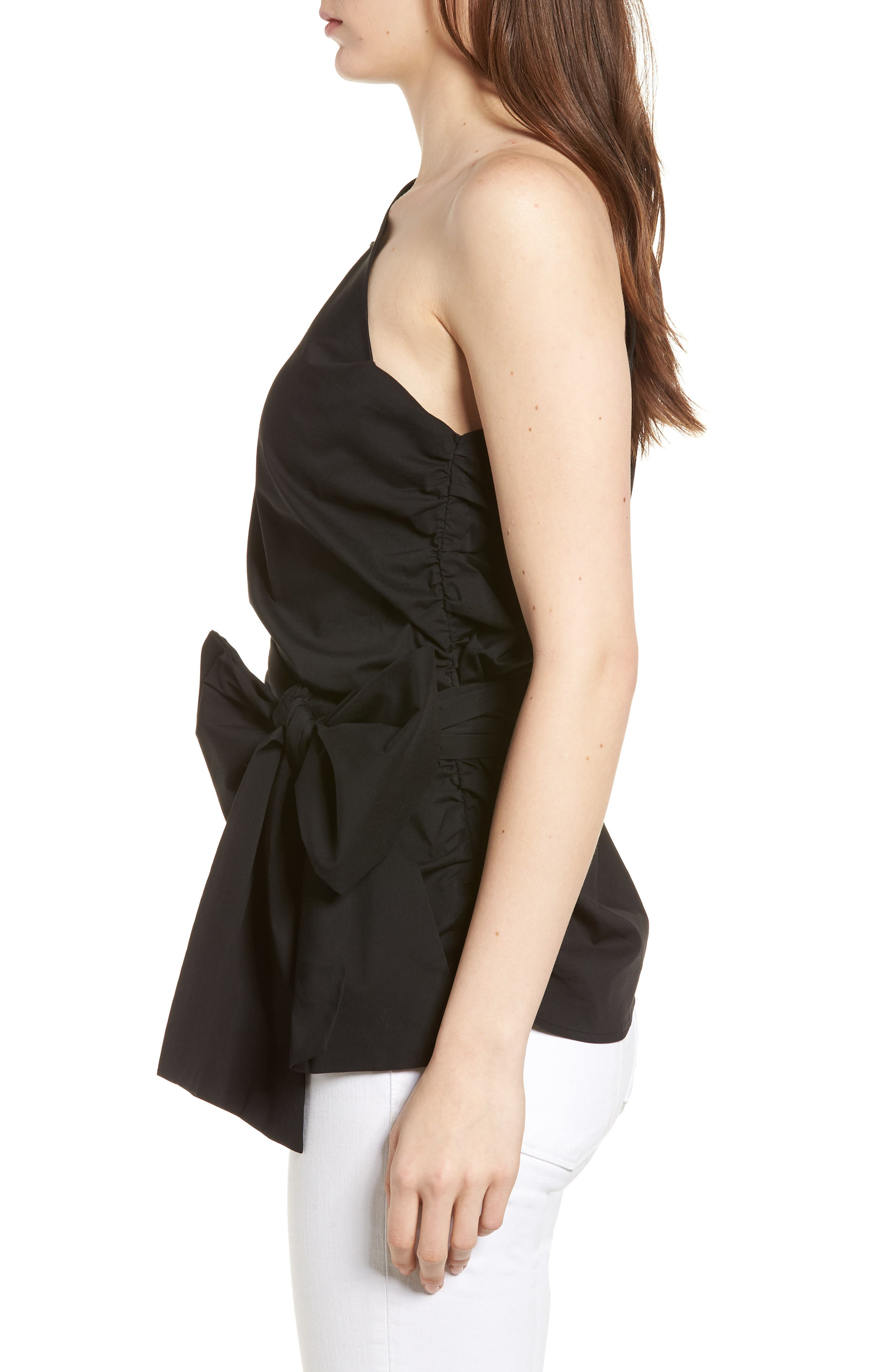 Bishop + Young Belted One-Shoulder Blouse,                             Alternate thumbnail 3, color,                             Black