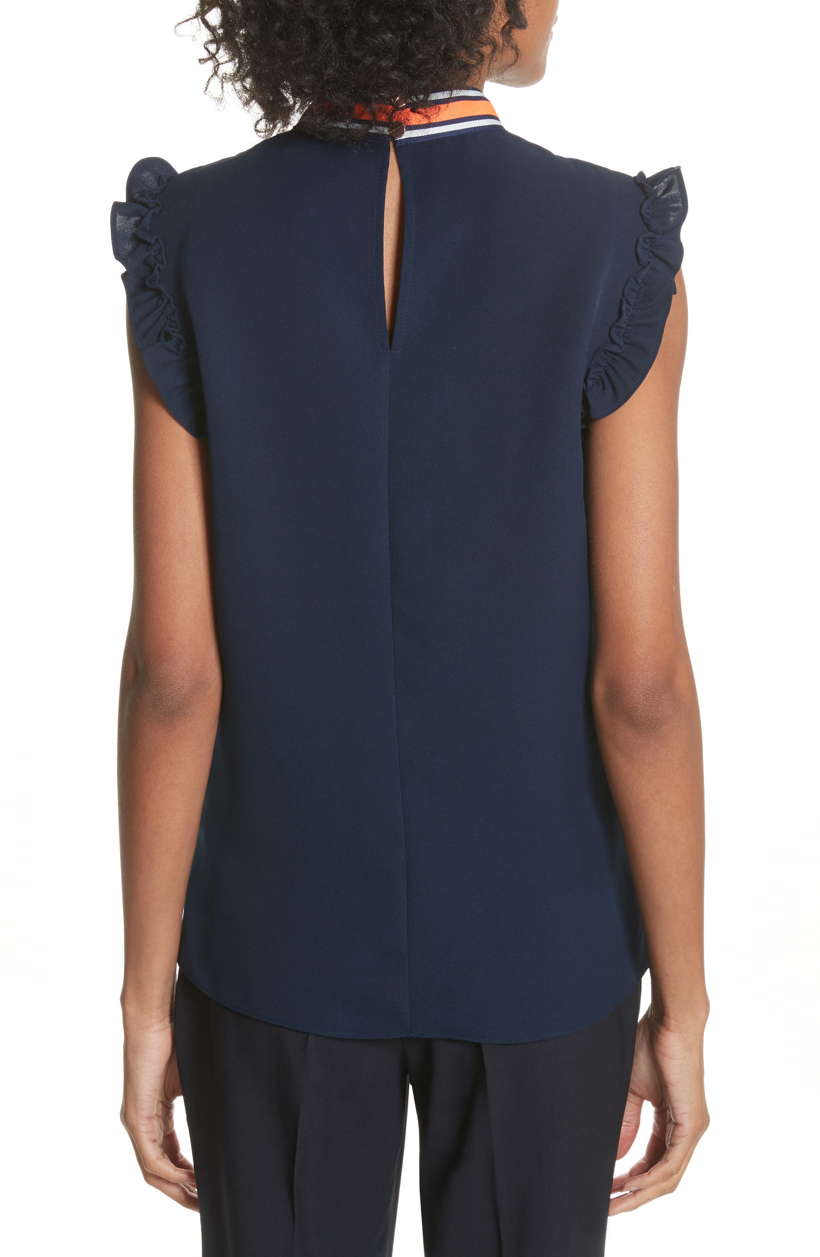 Bow Neck Frilled Top,                             Alternate thumbnail 2, color,                             Navy