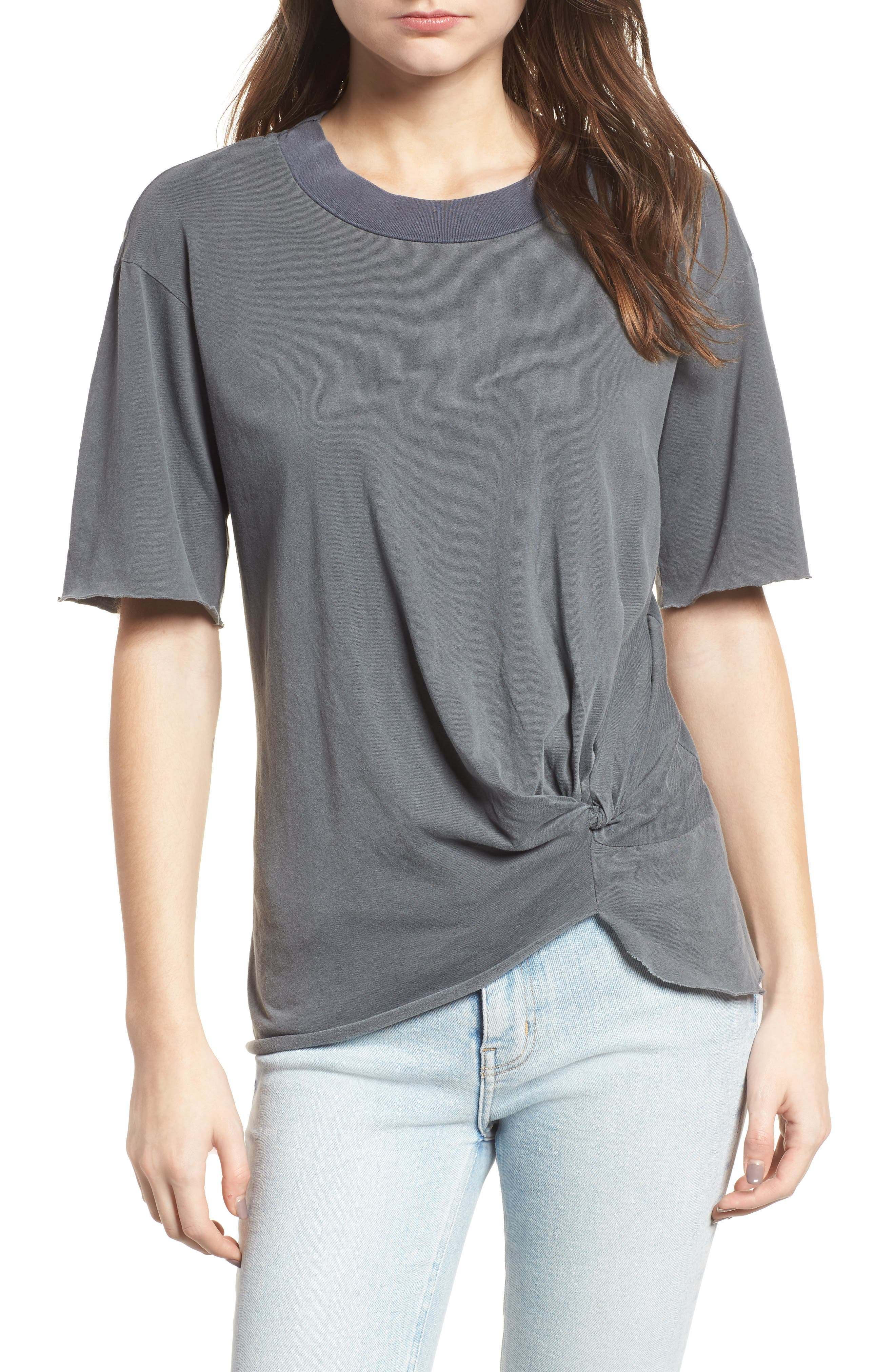 Twist Hem Brushed Jersey Tee,                             Main thumbnail 1, color,                             Charcoal