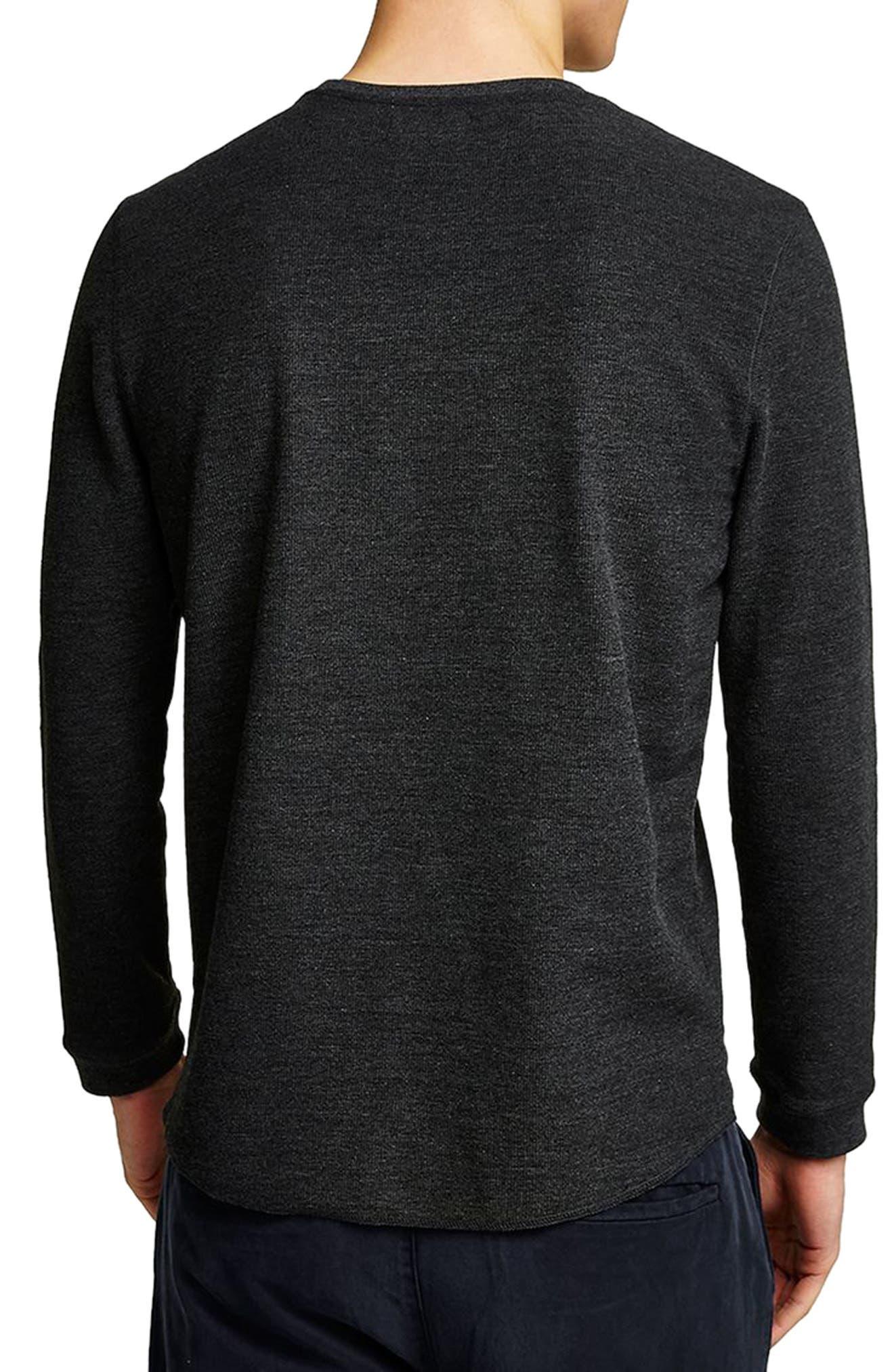 Slim Fit Waffle Knit Long Sleeve T-Shirt,                             Alternate thumbnail 2, color,                             Charcoal