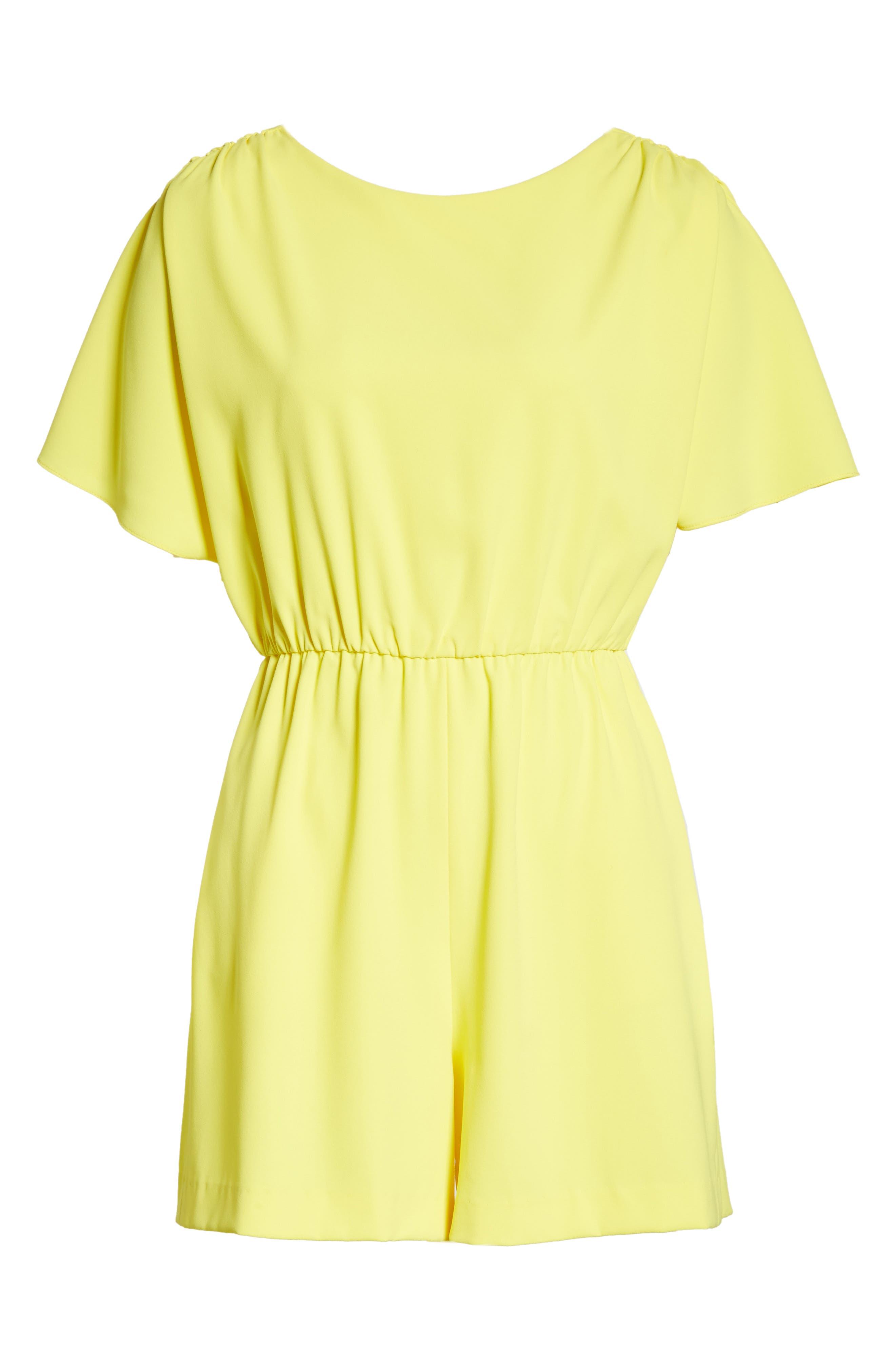 Ashlea Flutter Sleeve Romper,                             Alternate thumbnail 6, color,                             Lemon