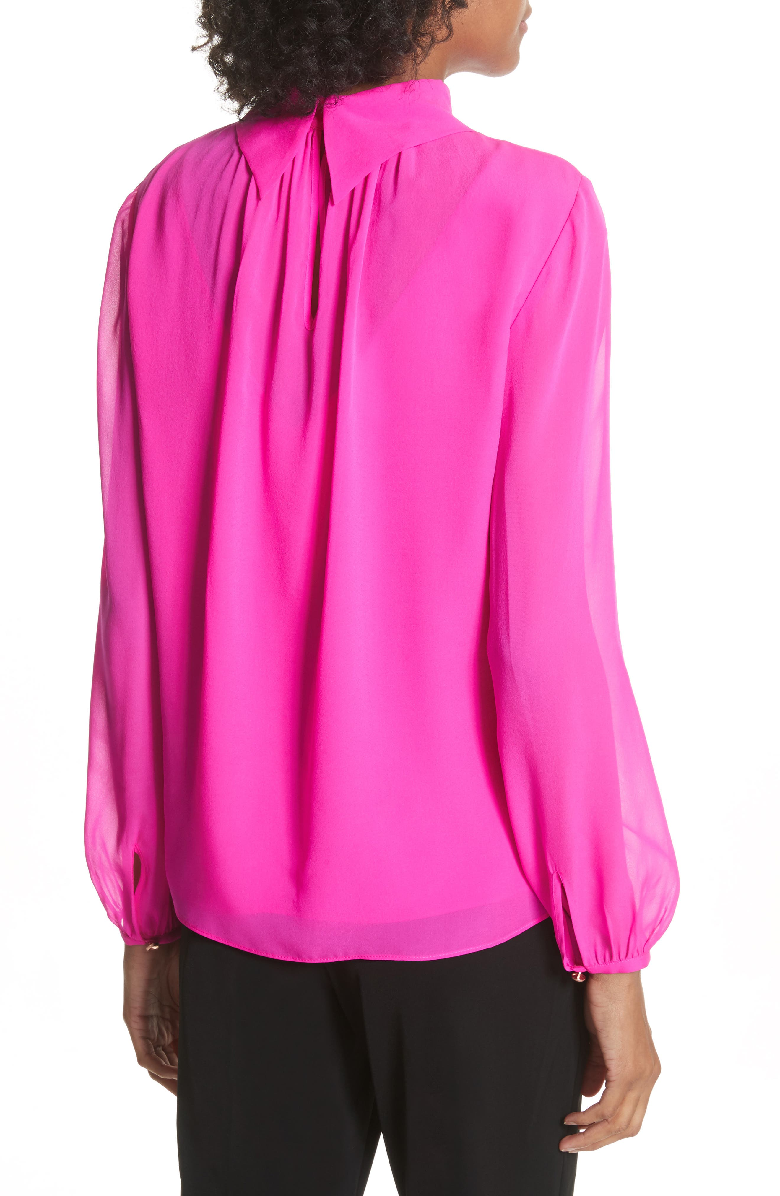 Ruched Silk High Neck Blouse,                             Alternate thumbnail 2, color,                             Bright Pink