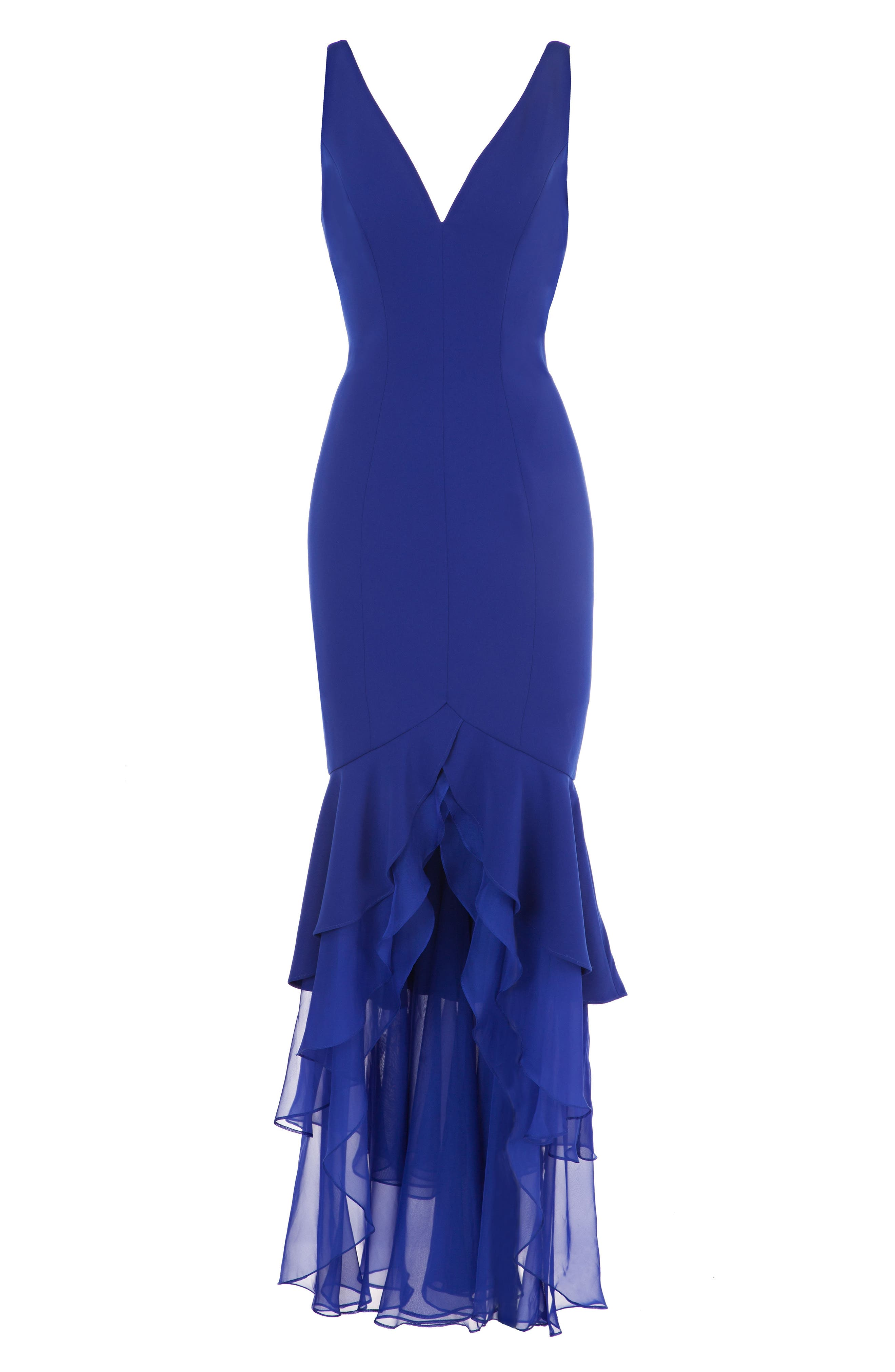 Tiered Mermaid Gown,                             Alternate thumbnail 3, color,                             Cobalt