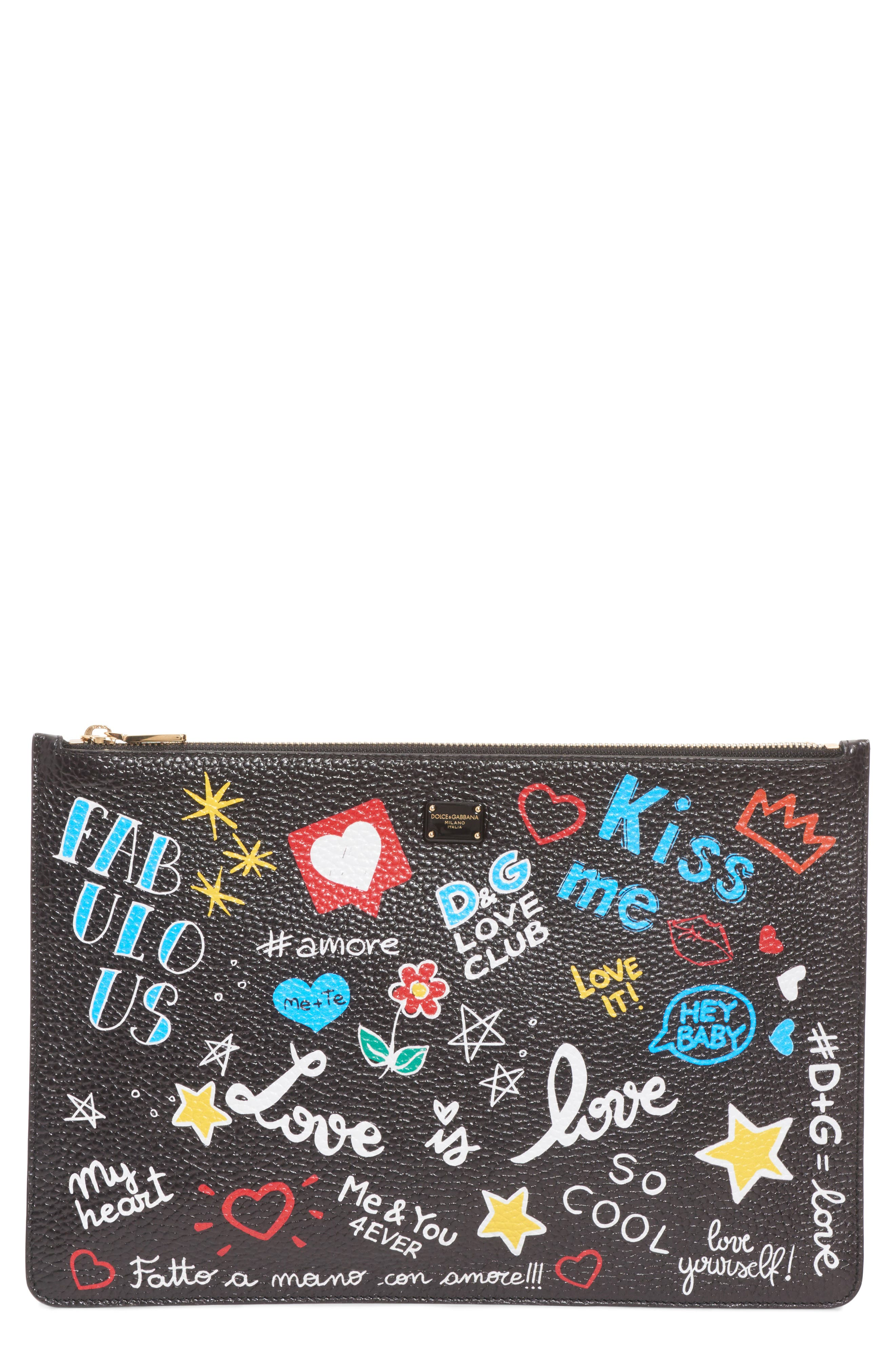 Dolce&Gabbana Cleo Graffiti Print Clutch