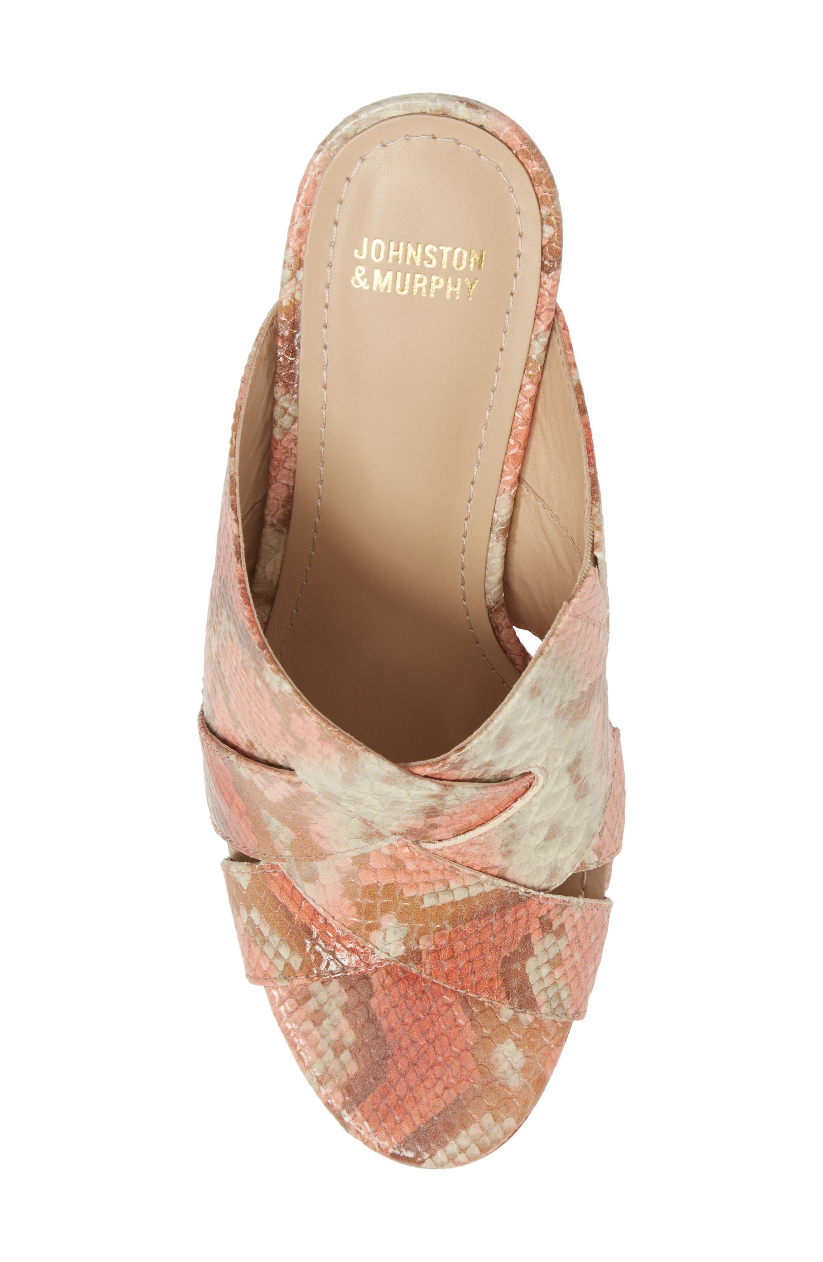 Carrie Mule Sandal,                             Alternate thumbnail 5, color,                             Coral Leather