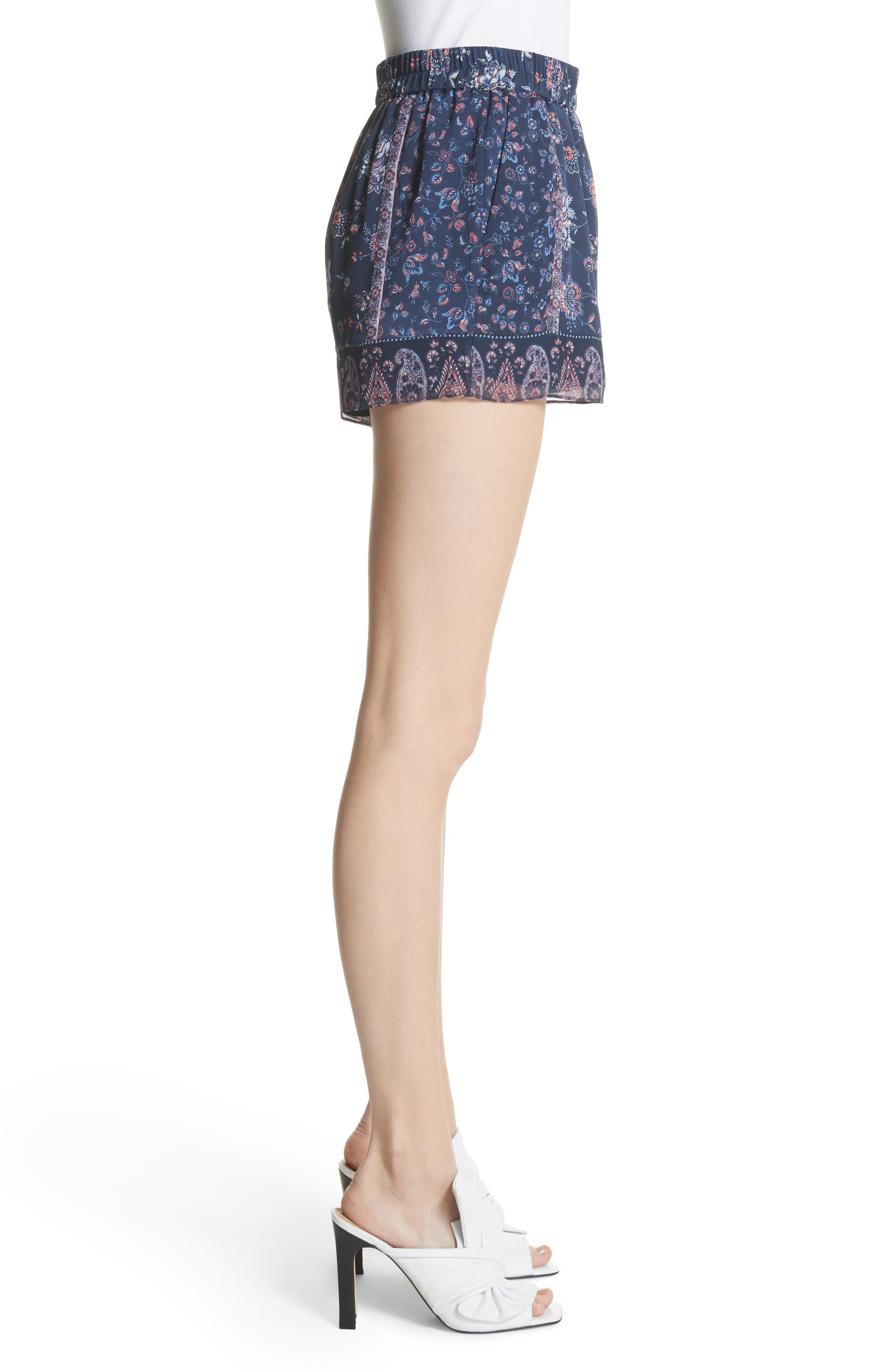Ciri Floral Silk Shorts,                             Alternate thumbnail 3, color,                             Dark Navy