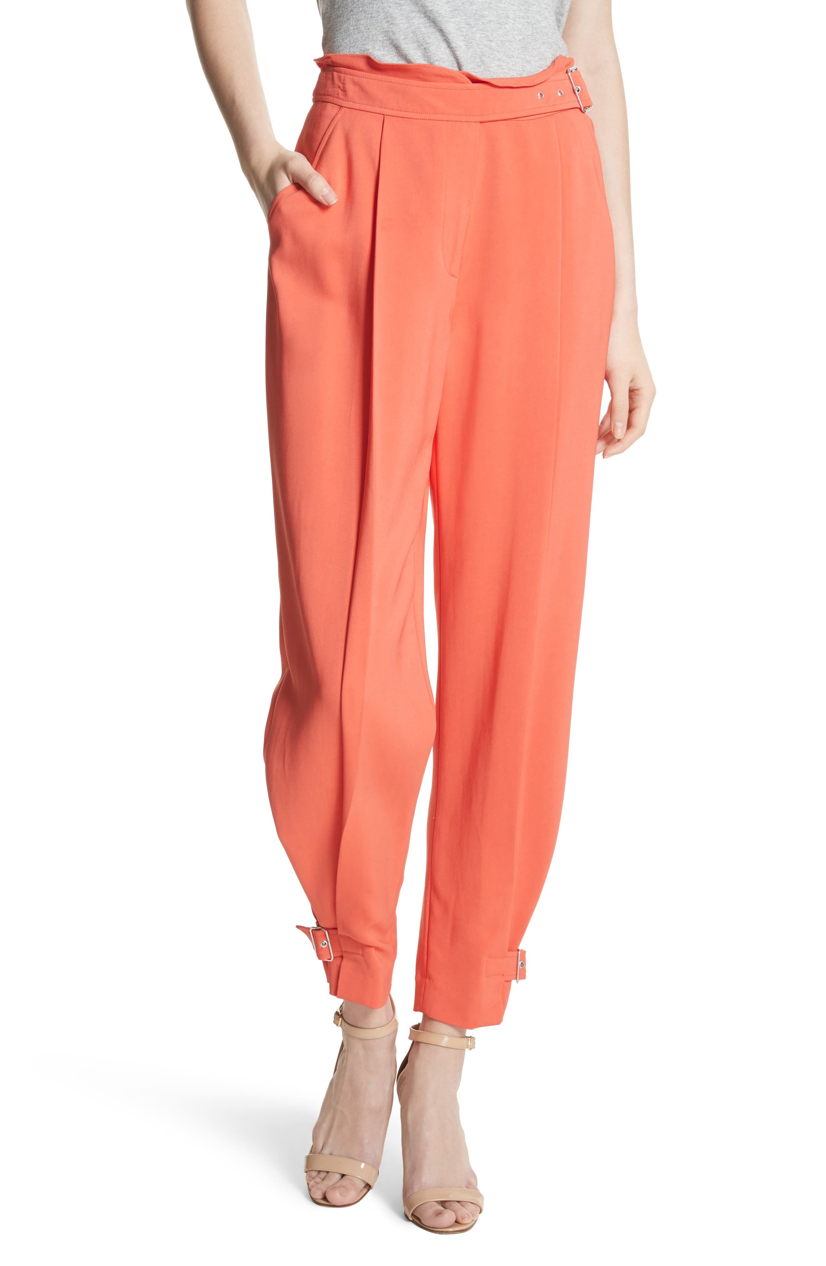 Belted Trousers,                         Main,                         color, Blood Orange