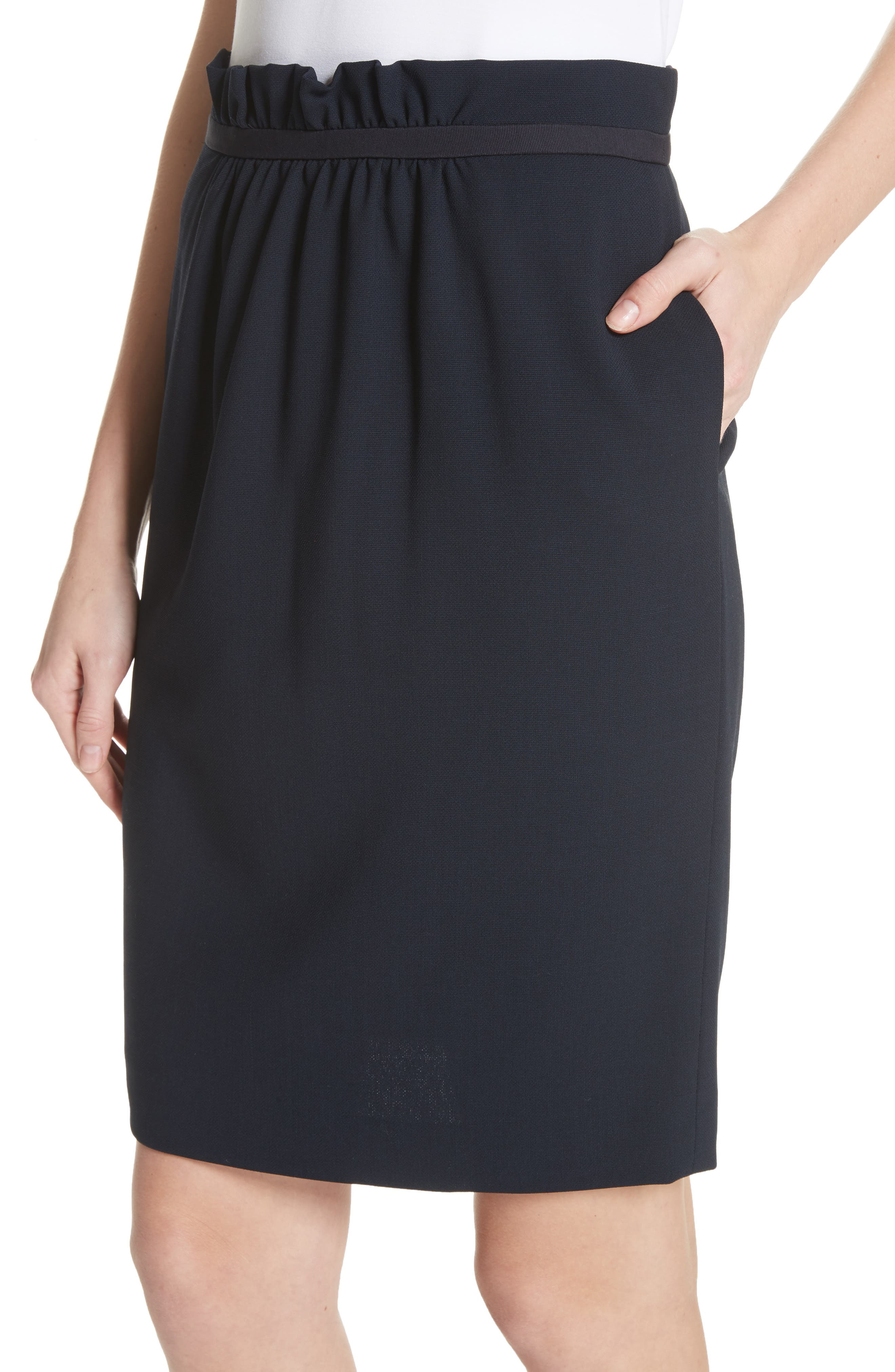Stretch Wool Crepe Skirt,                             Alternate thumbnail 4, color,                             Navy