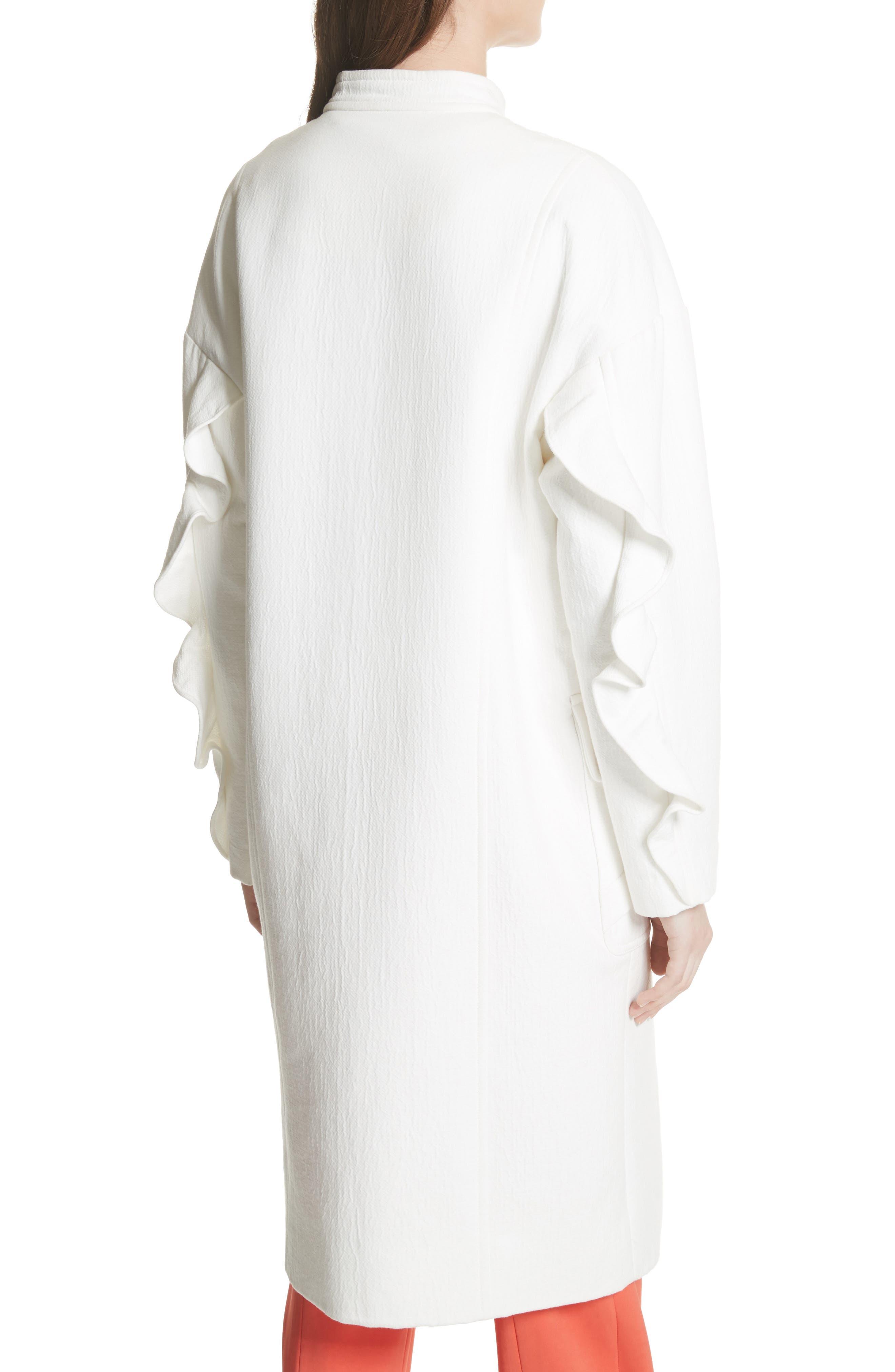 Ruffle Sleeve Cotton Coat,                             Alternate thumbnail 2, color,                             Linen