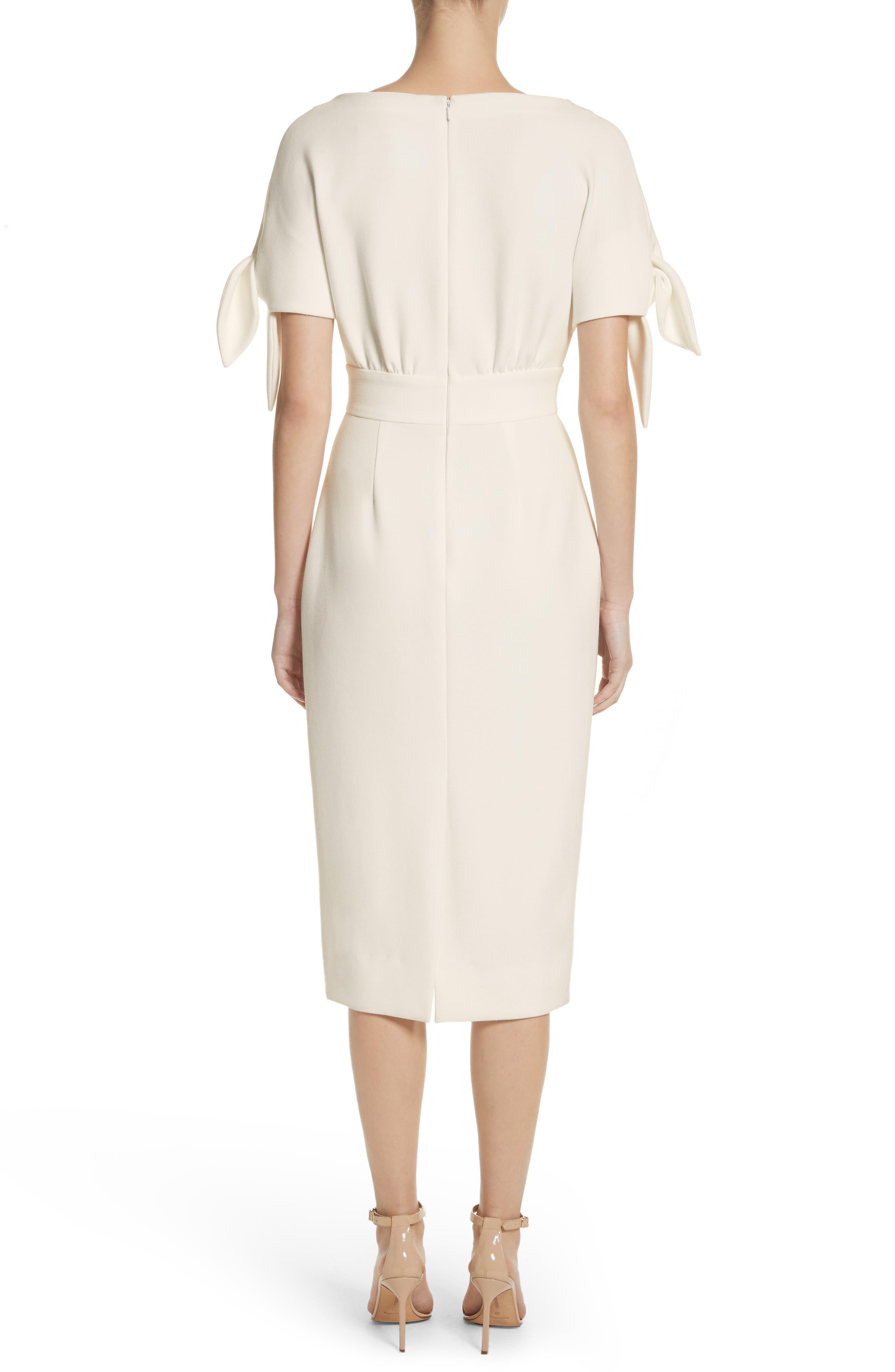 Tie Sleeve Wool Blend Sheath Dress,                             Alternate thumbnail 3, color,                             White