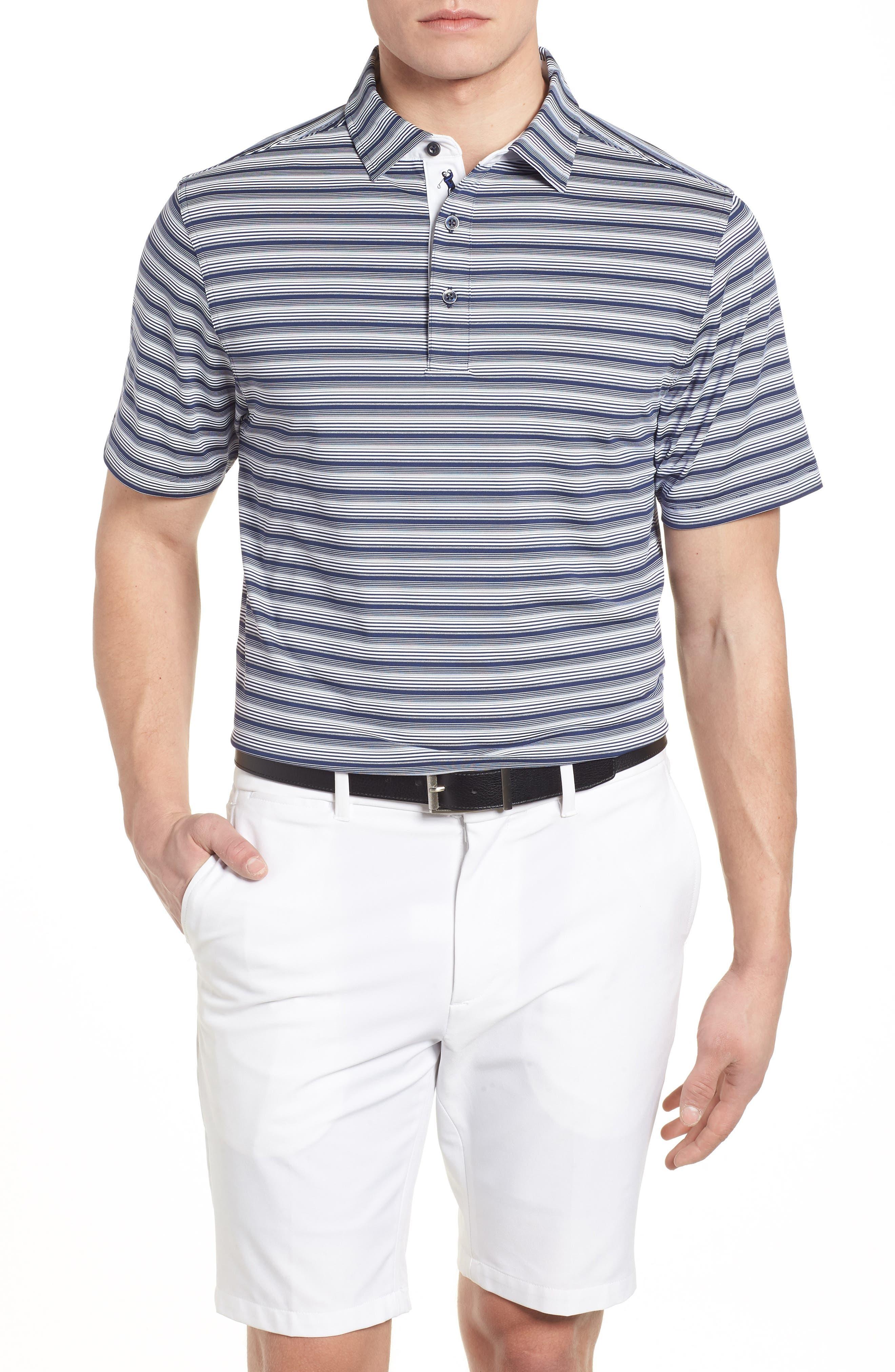 XH2O Regis Stripe Polo,                         Main,                         color, Navy