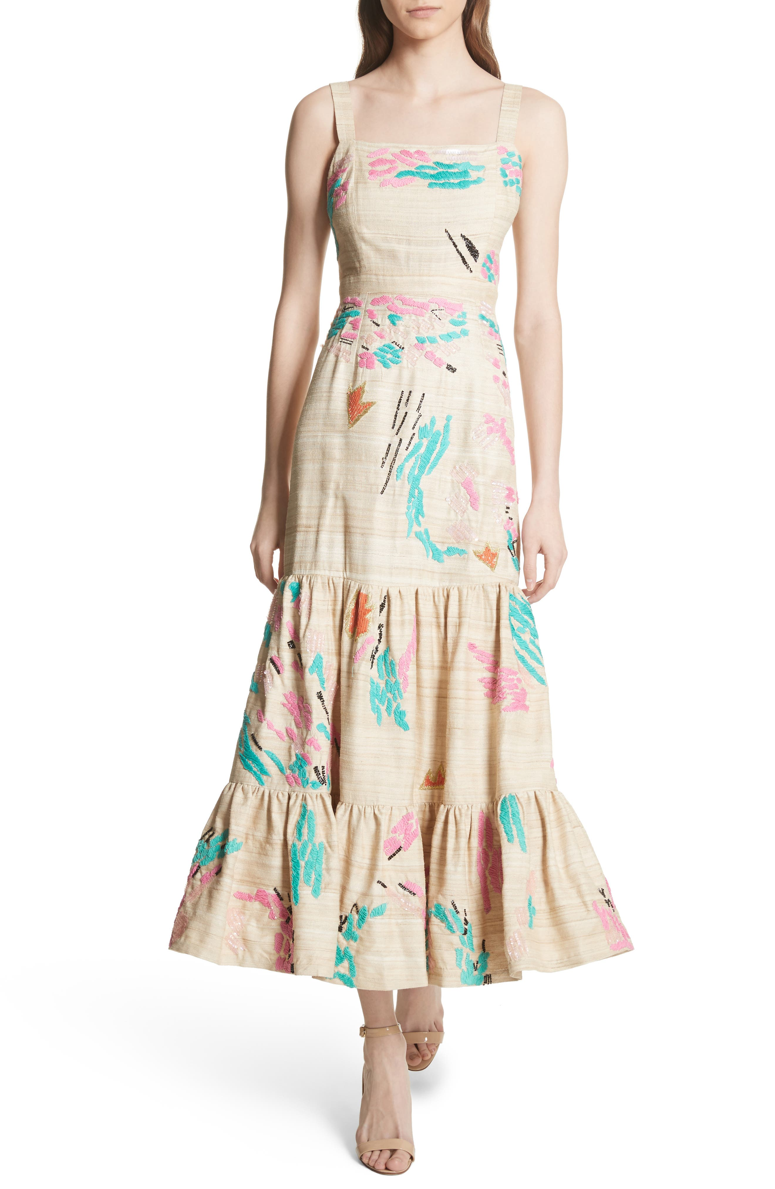 Tiered Silk Embroidered Maxi Dress,                             Main thumbnail 1, color,                             Raw Silk