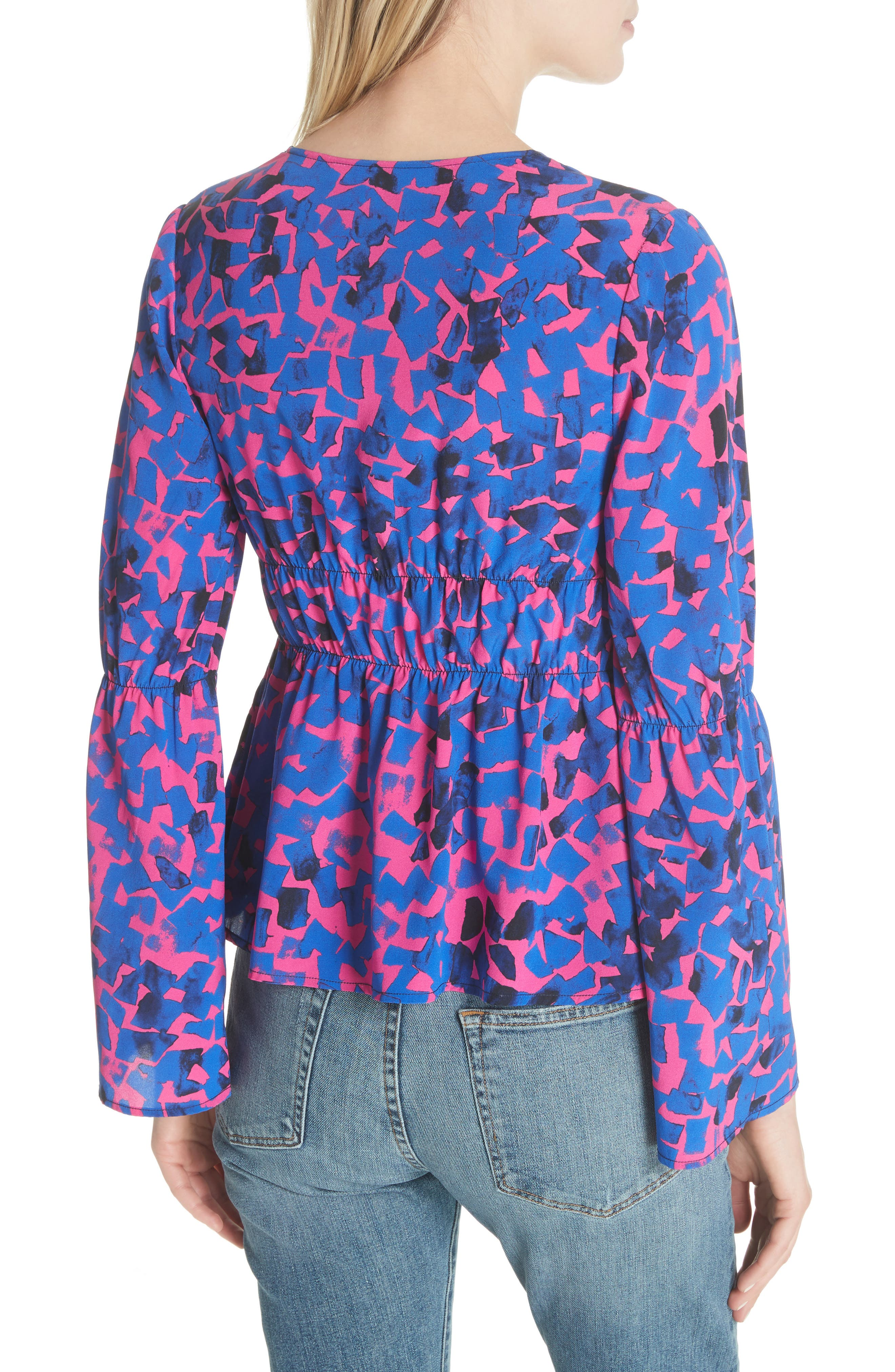 Ruched Stretch Silk Blouse,                             Alternate thumbnail 2, color,                             Cobalt Confetti