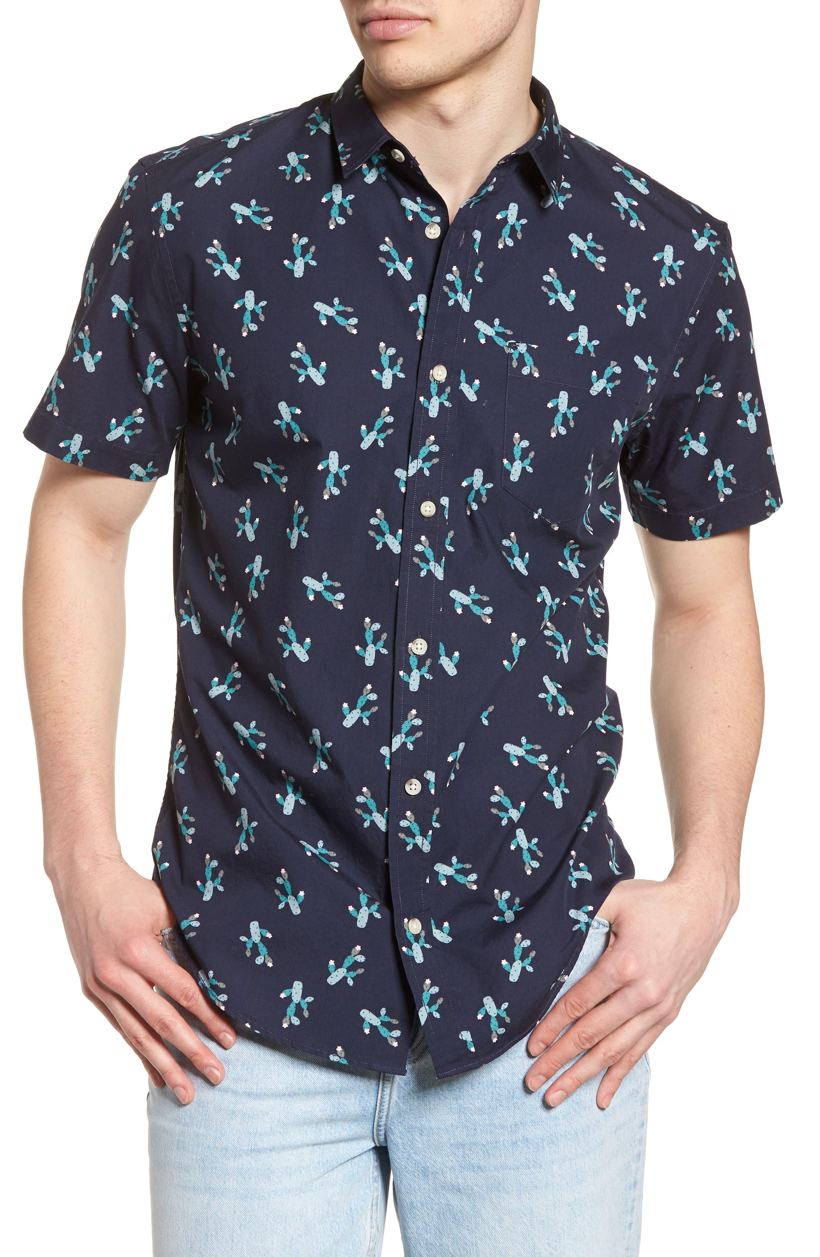 Print Woven Shirt,                         Main,                         color, Navy Iris Cactus Print