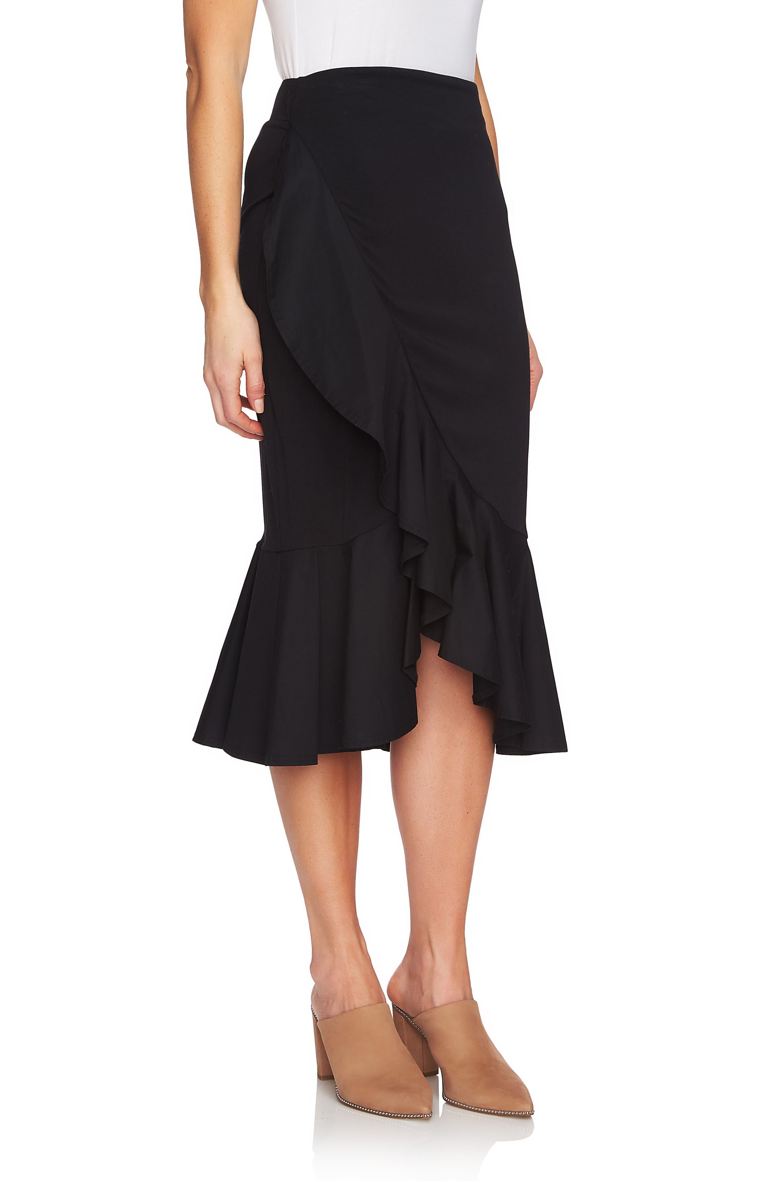 Ruffle Skirt,                             Alternate thumbnail 3, color,                             060-Rich Black