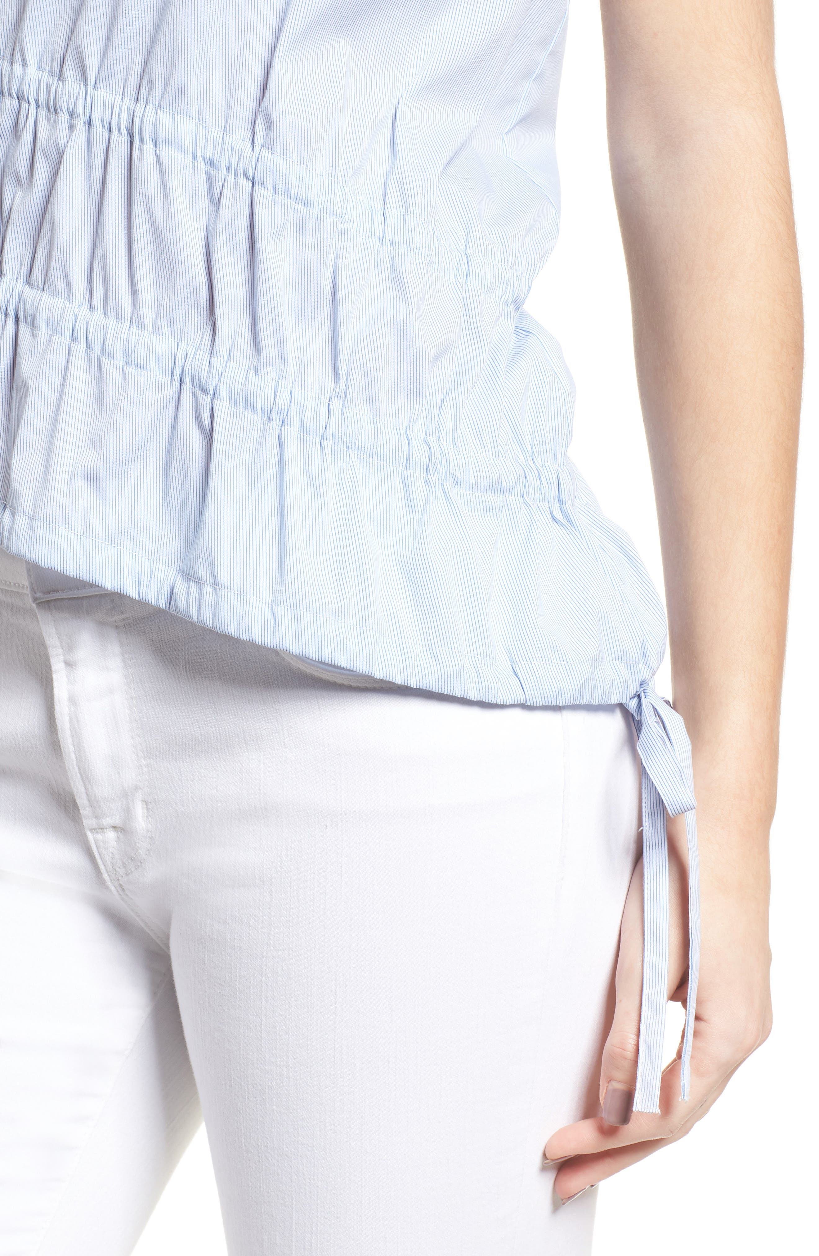 Ruched Poplin Top,                             Alternate thumbnail 5, color,                             Blue/ White Pinstripe