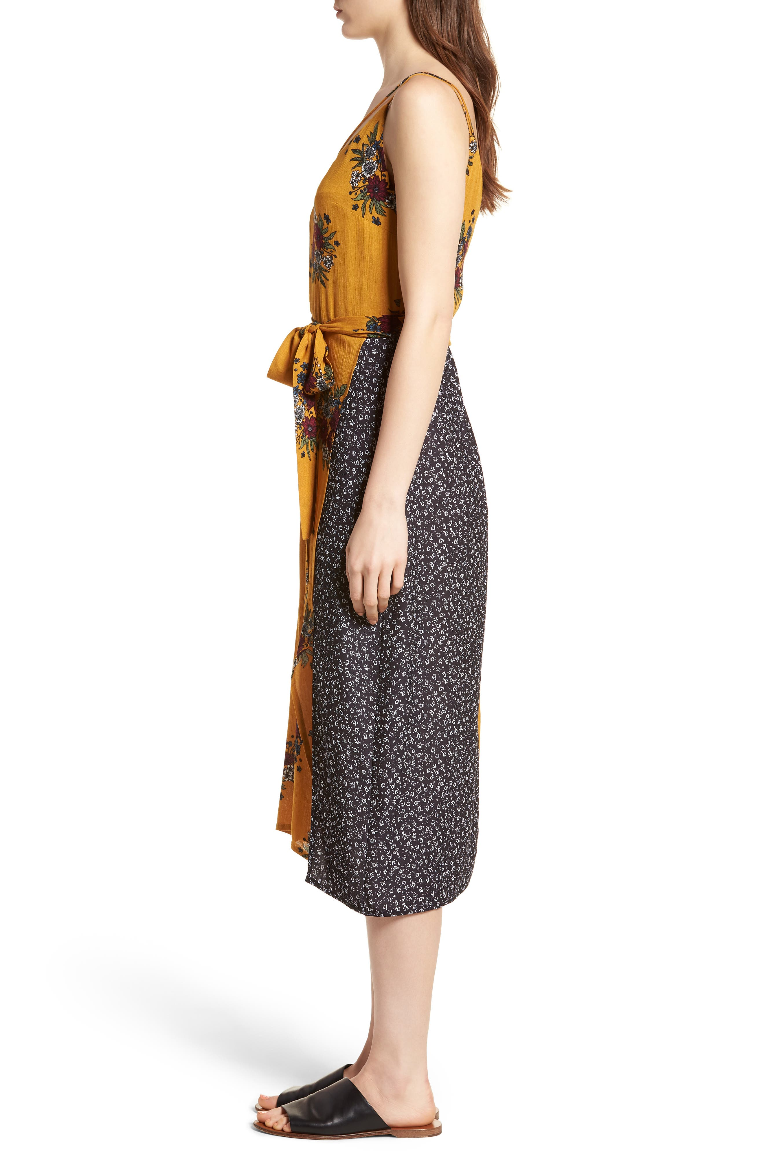 See Me Print Midi Dress,                             Alternate thumbnail 3, color,                             Honey