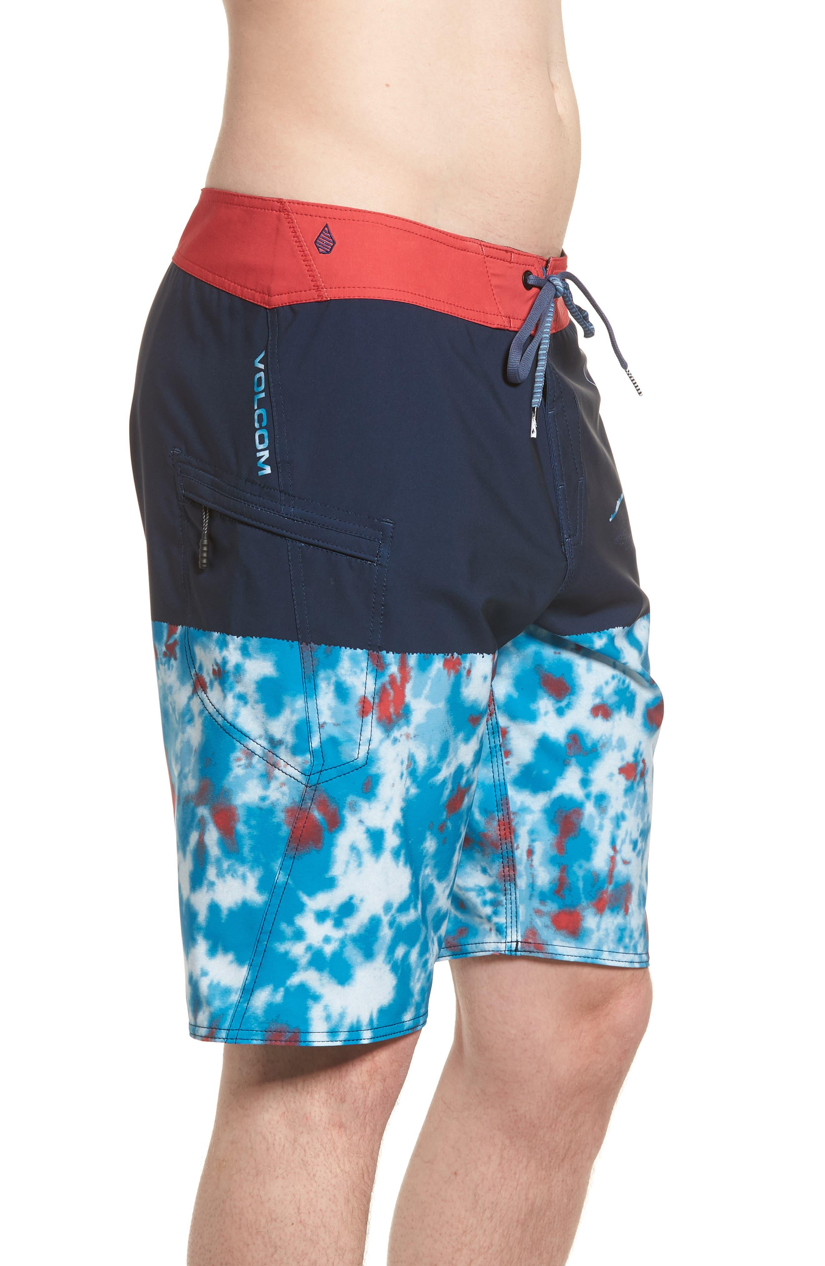 Lido Block Mod Board Shorts,                             Alternate thumbnail 4, color,                             Blue True