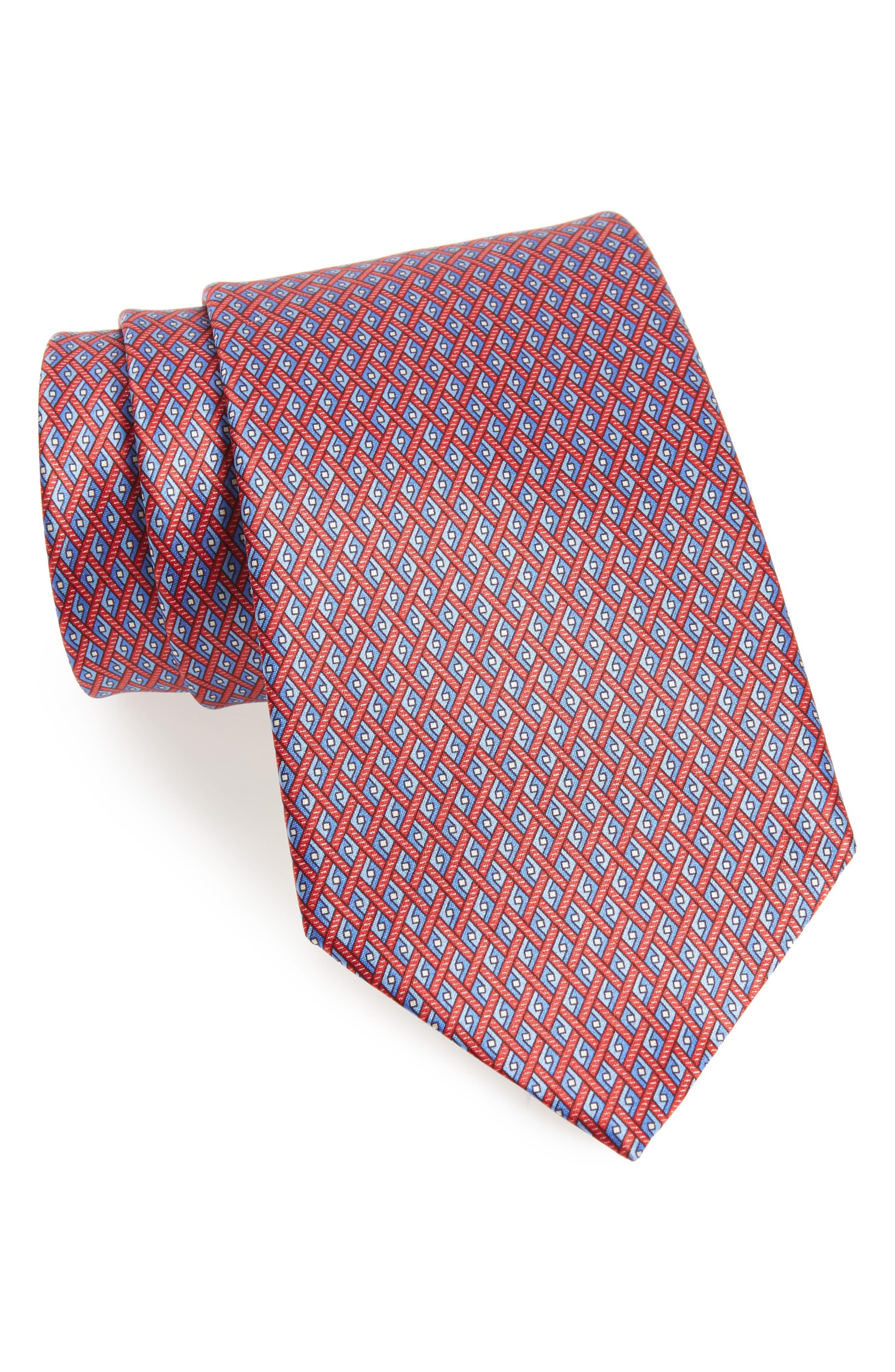 Geometric Silk Tie,                         Main,                         color, Red