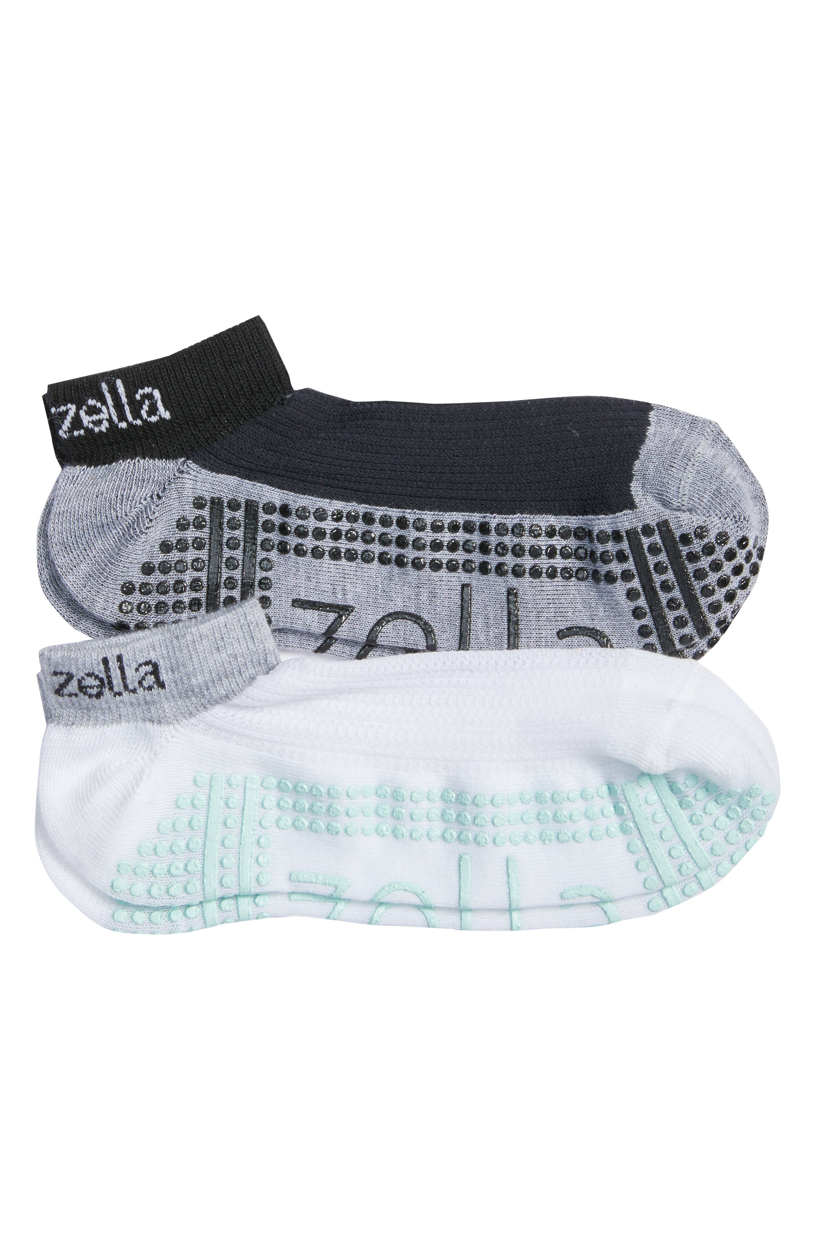 2-Pack Studio Ankle Socks,                             Main thumbnail 1, color,                             Grey Wolf Heather/ Teal Surf