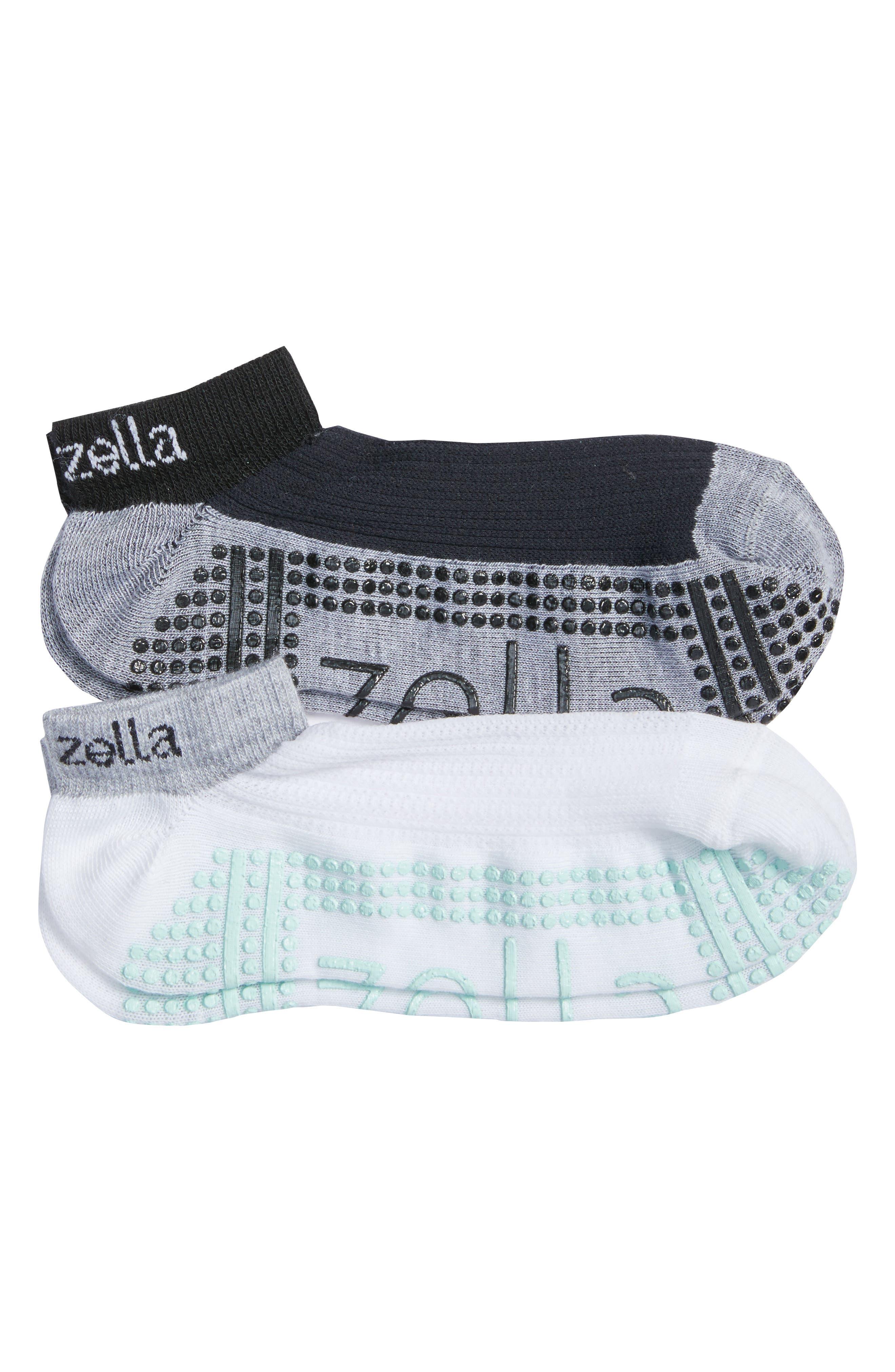 2-Pack Studio Ankle Socks,                         Main,                         color, Grey Wolf Heather/ Teal Surf