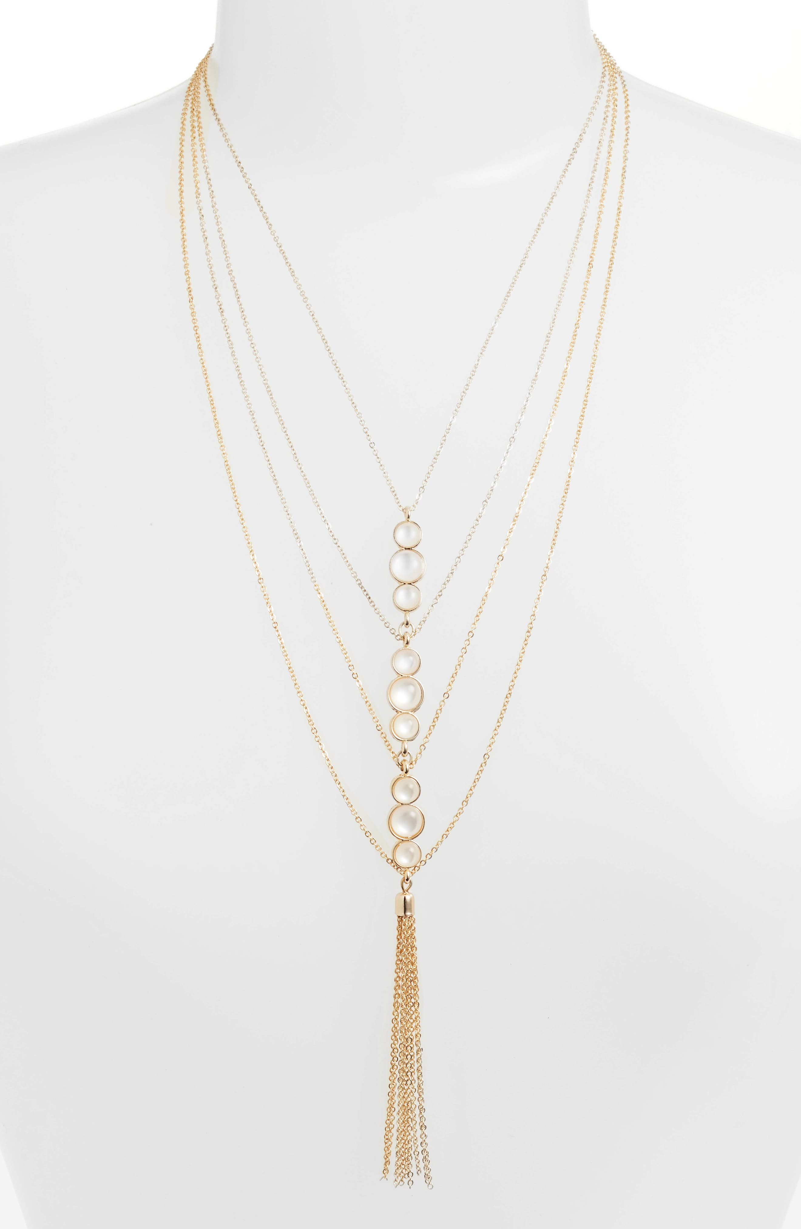 Layered Imitation Pearl Y-Necklace,                             Main thumbnail 1, color,                             Gold/ Pearl