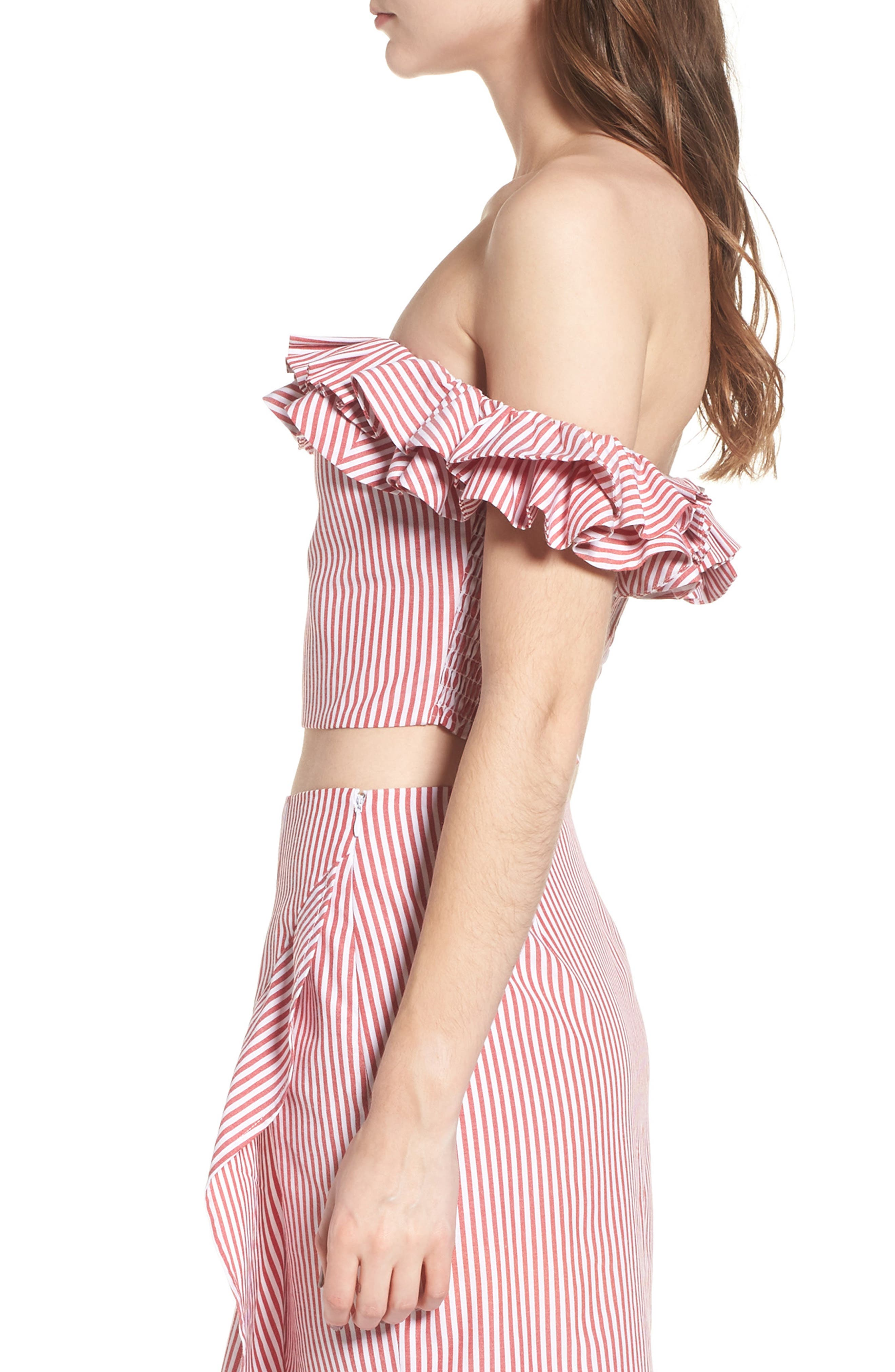 Anzio Off the Shoulder Ruffle Crop Top,                             Alternate thumbnail 9, color,                             Red Stripe