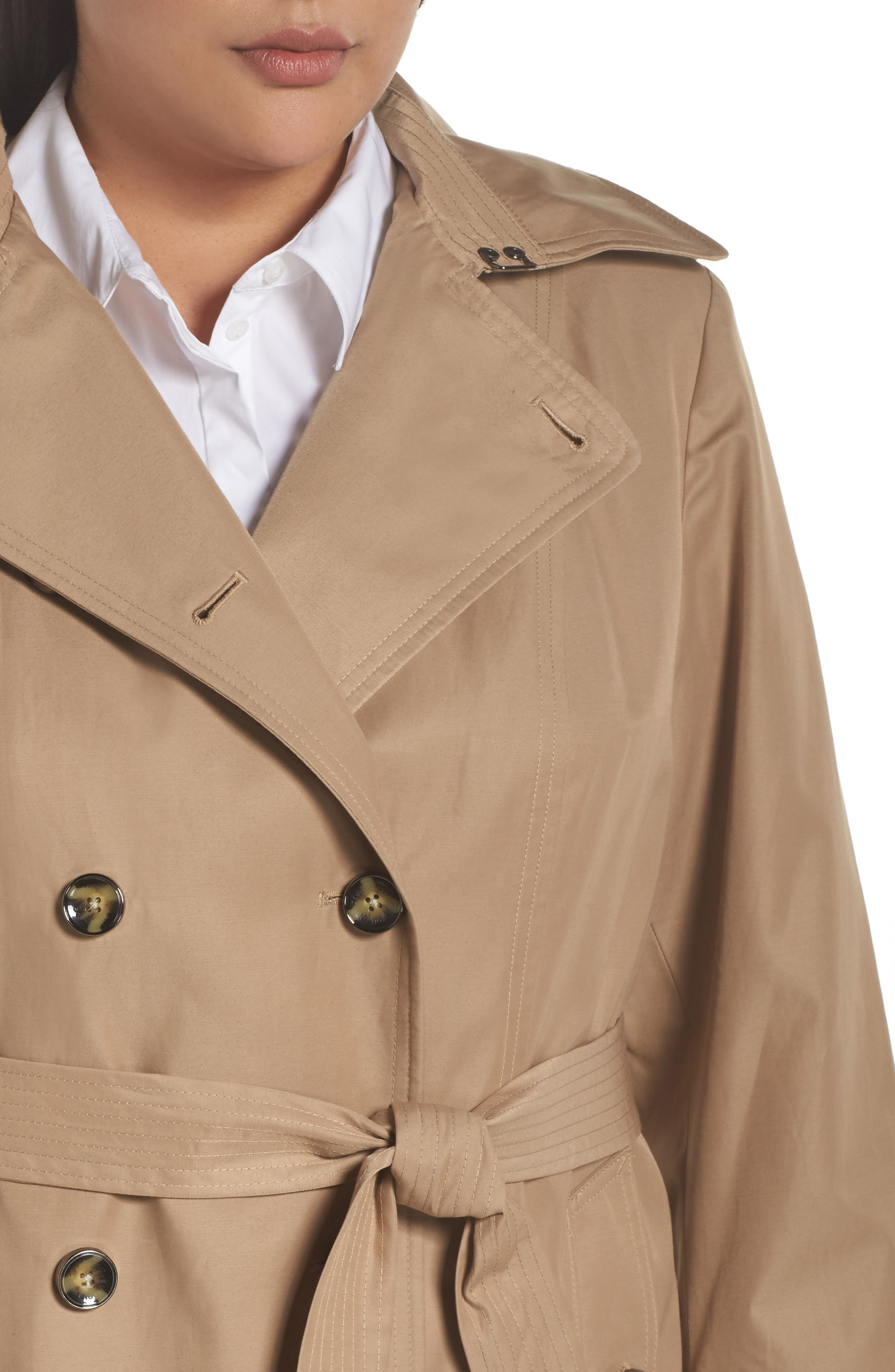 Hooded Double Breasted Trench Coat,                             Alternate thumbnail 4, color,                             Br Khaki